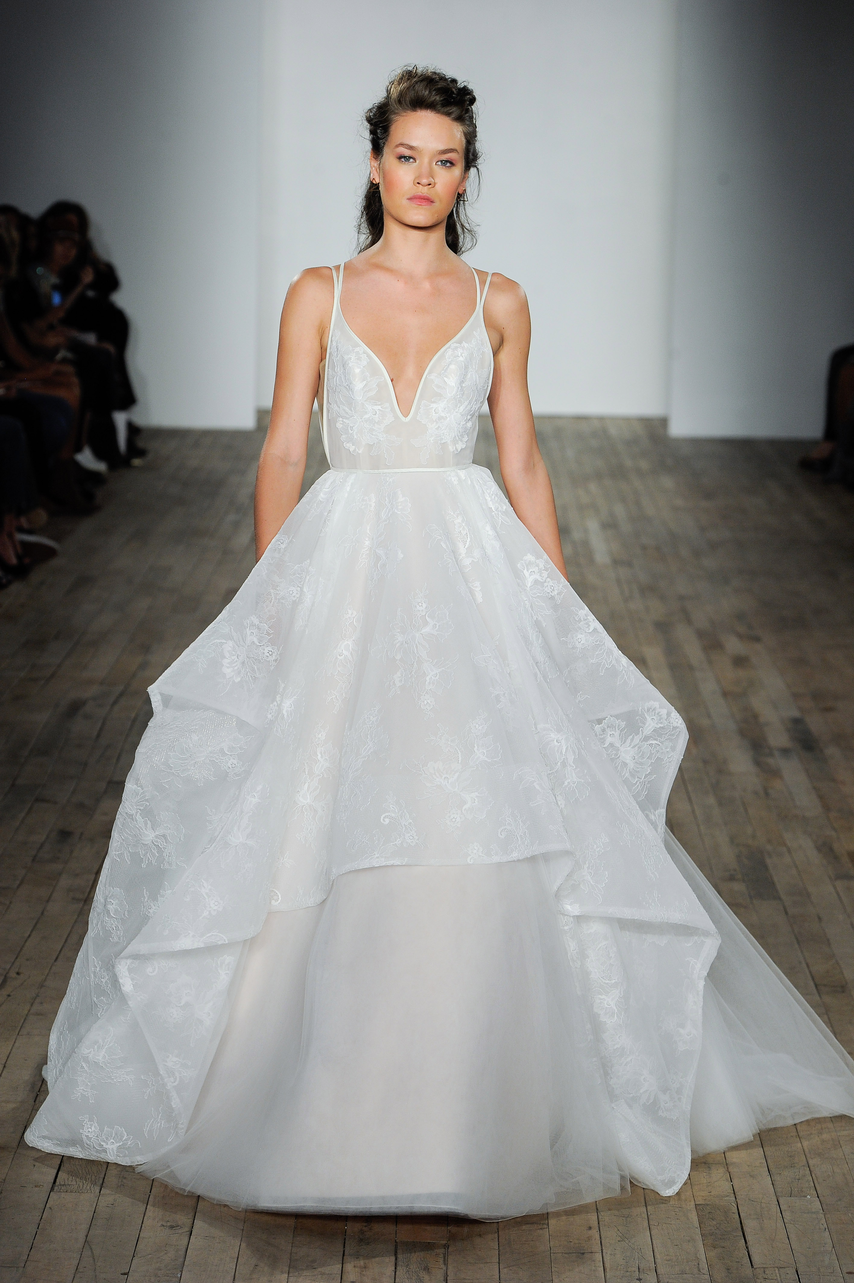 hayley paige fall 2018 v-neck ball gown wedding dress