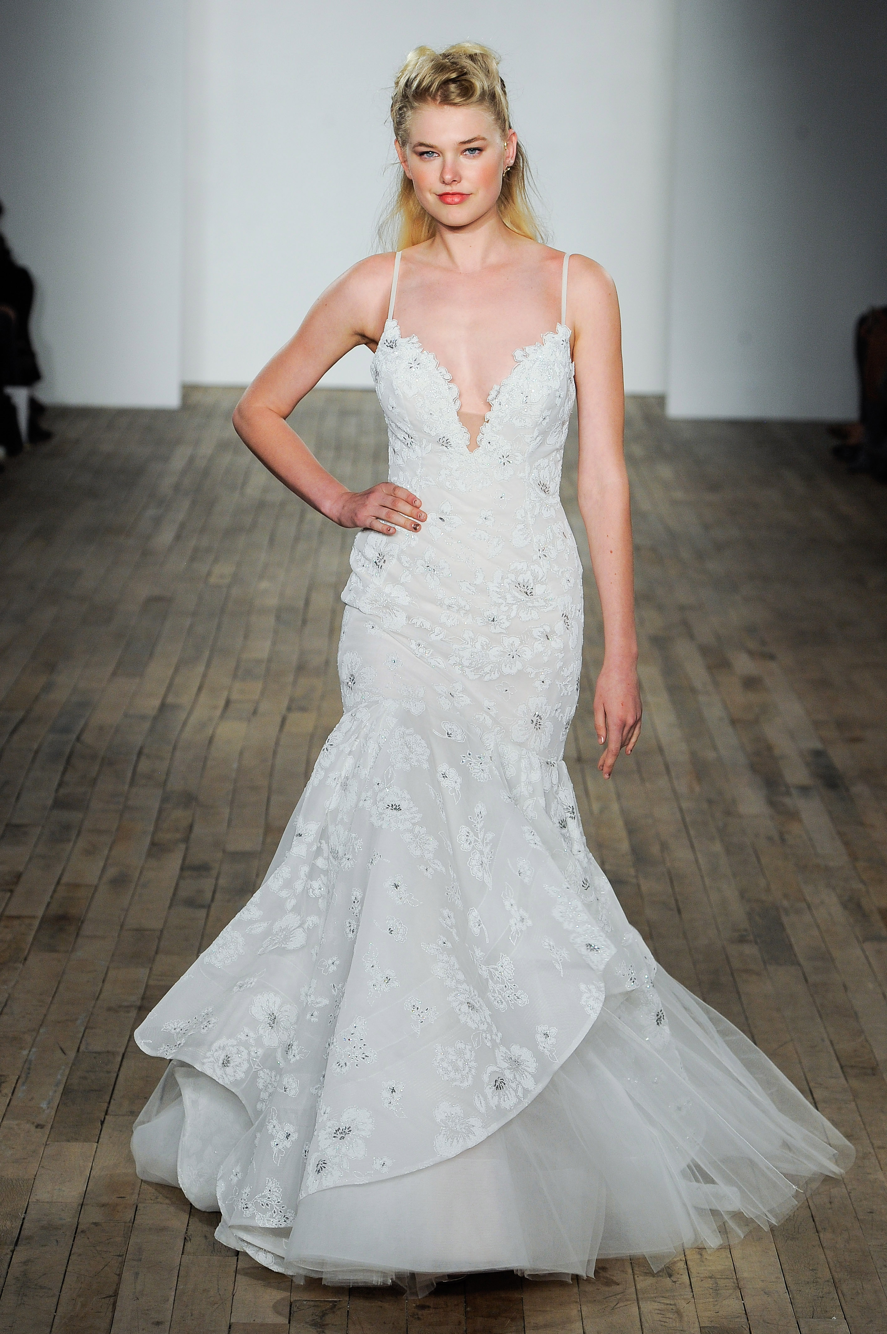 hayley paige fall 2018 spaghetti strap trumpet wedding dress