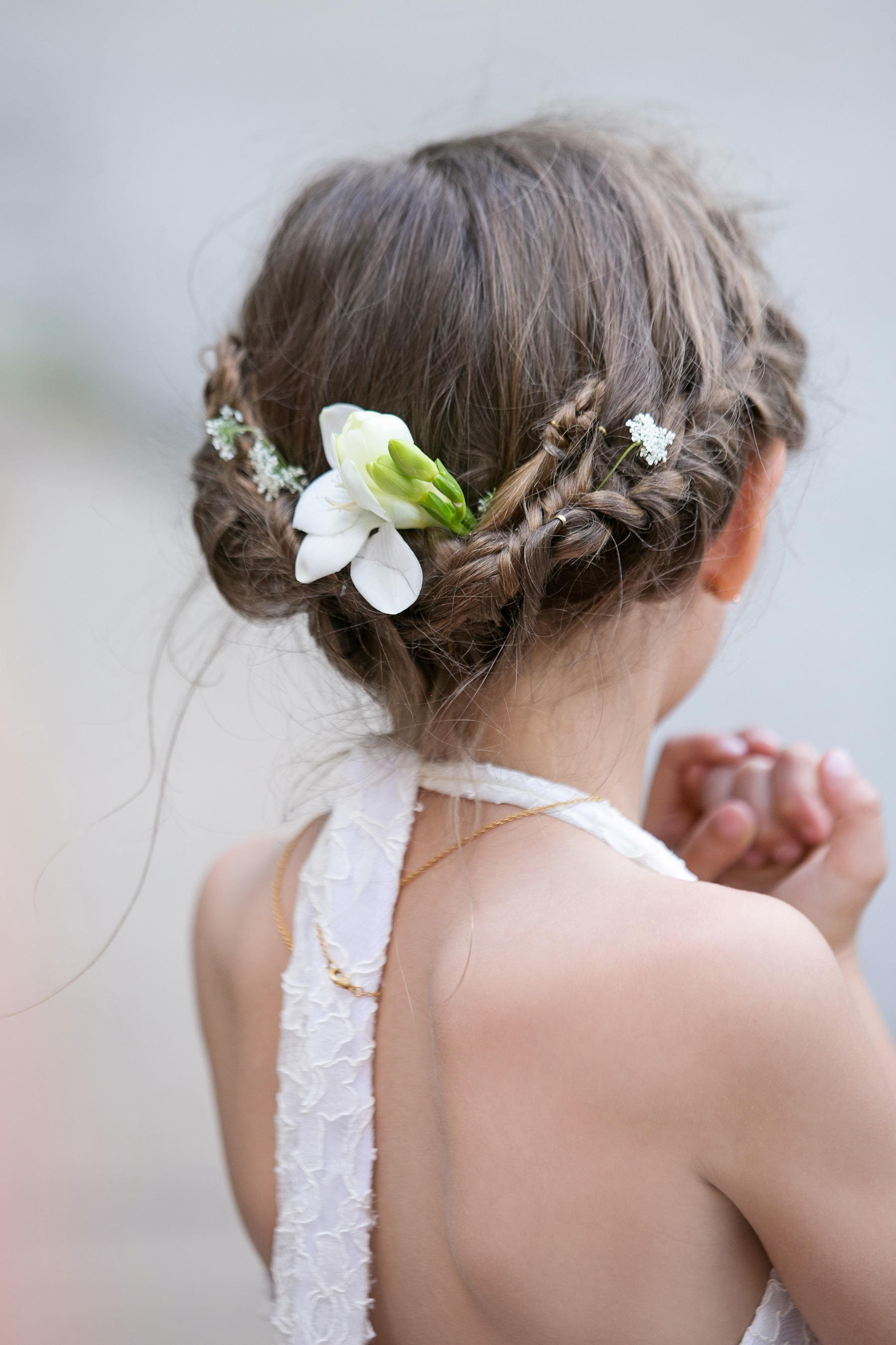 Flower Girl Hairstyle Twist with Tiny Flowers
