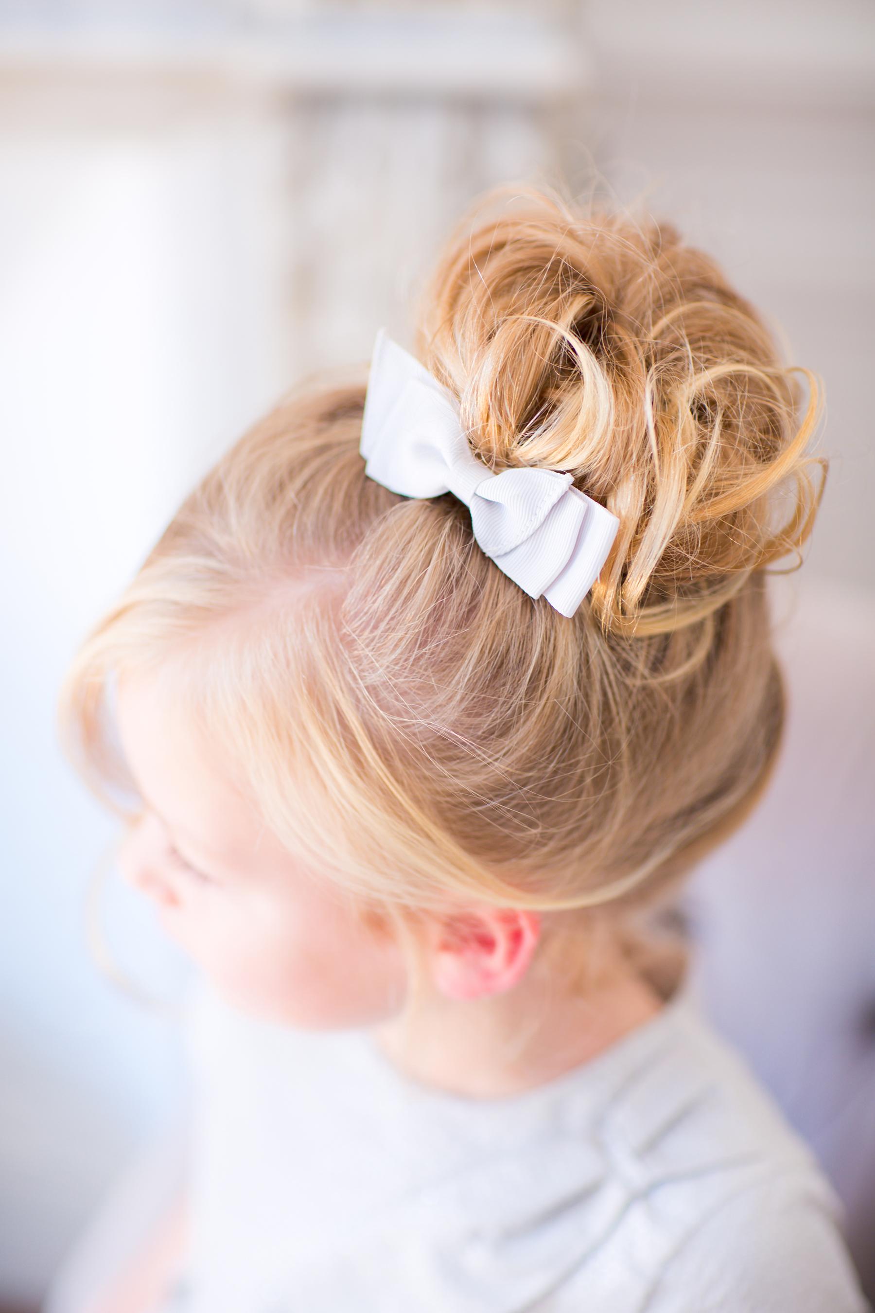 Flower Girl Bun Hairstyle High Curly Bun with Bow