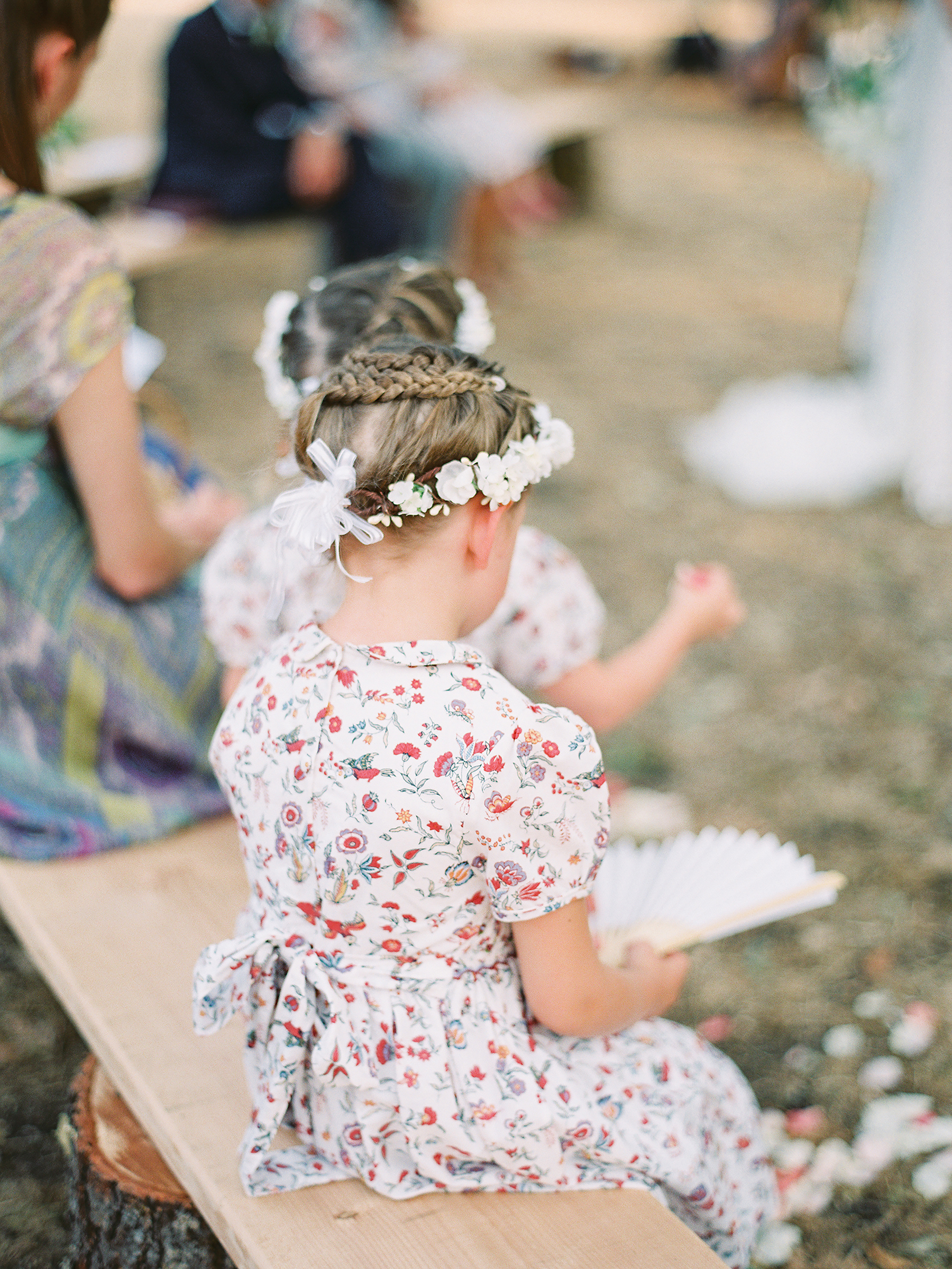 Flower Girl Hairstyle Crown Braid Updo with Flower Crown