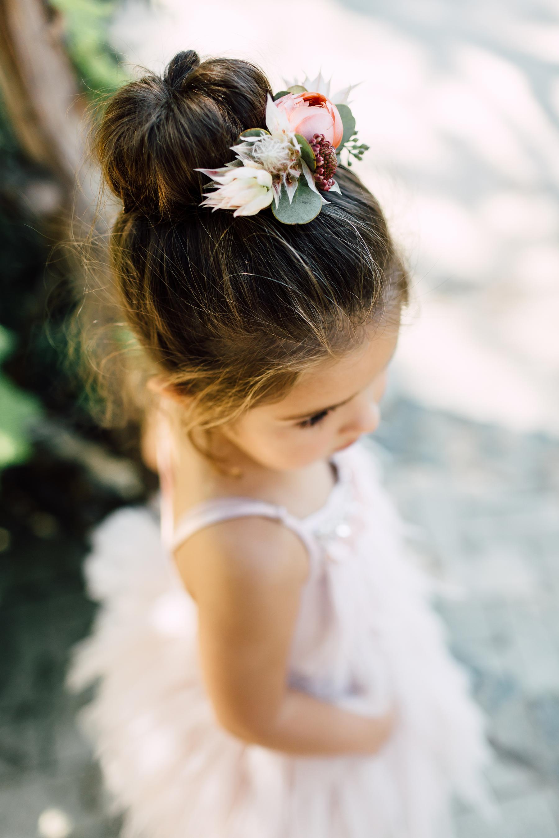 Flower Girl Hairstyle High Sock Bun