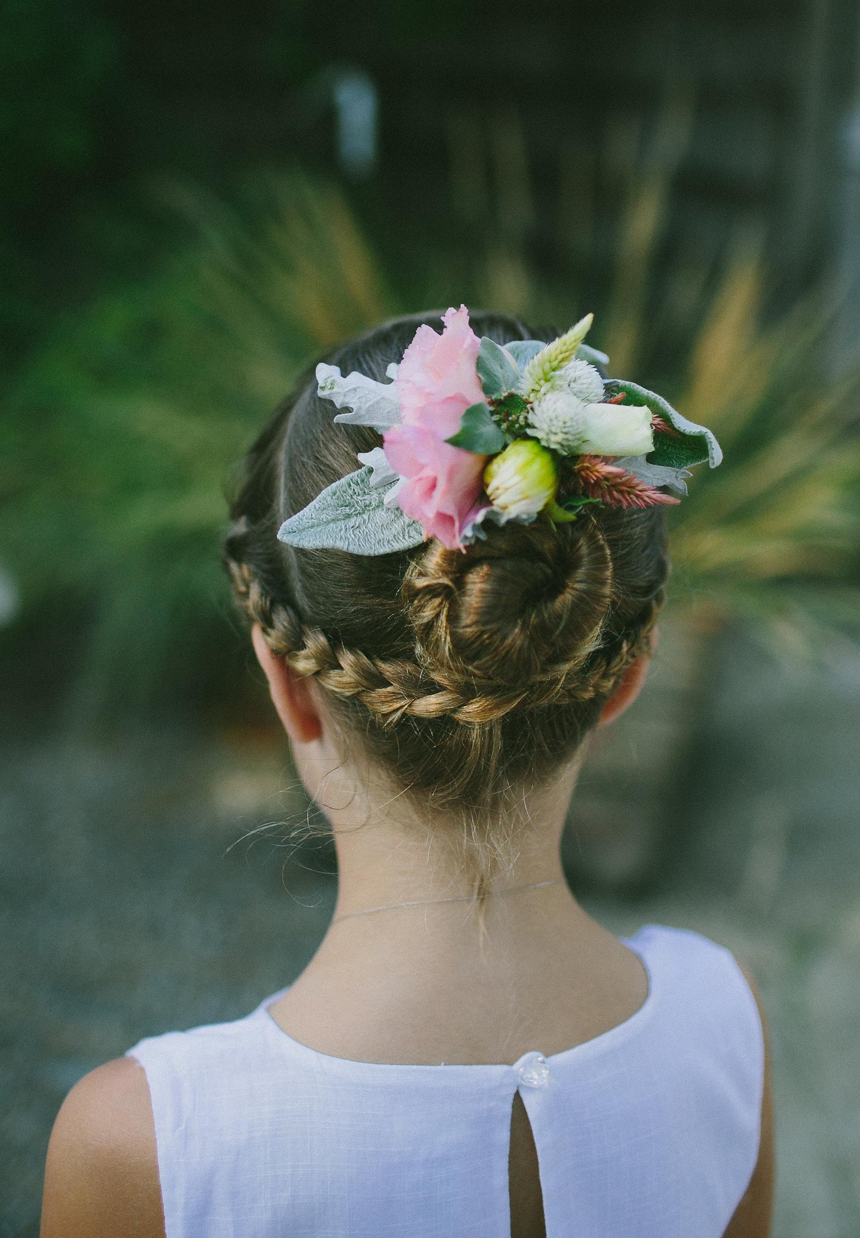 Flower Girl Hairstyle Under Braid and Bun