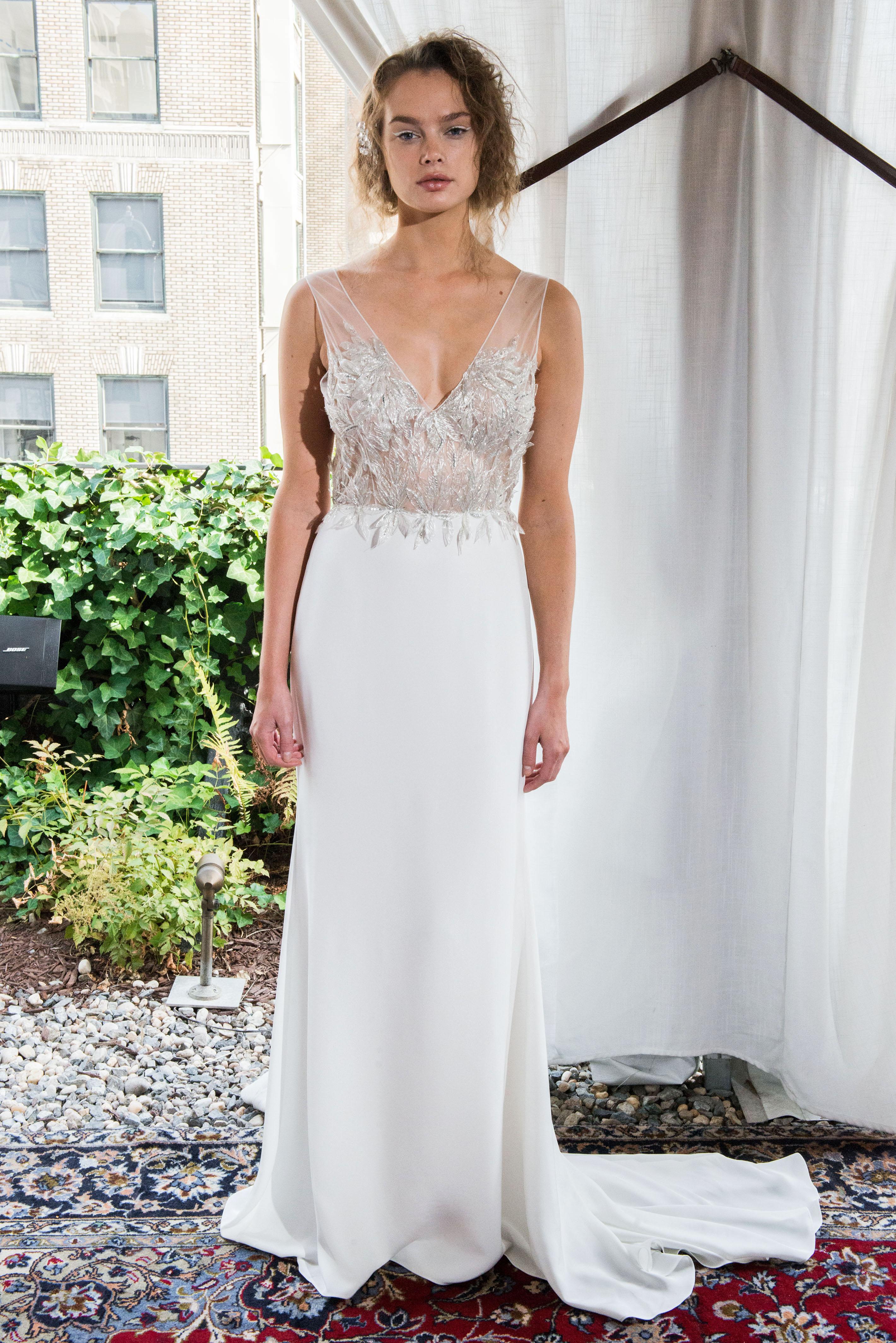alexandra grecco wedding dress fall 2018 v-neck embellished sleeveless illusion