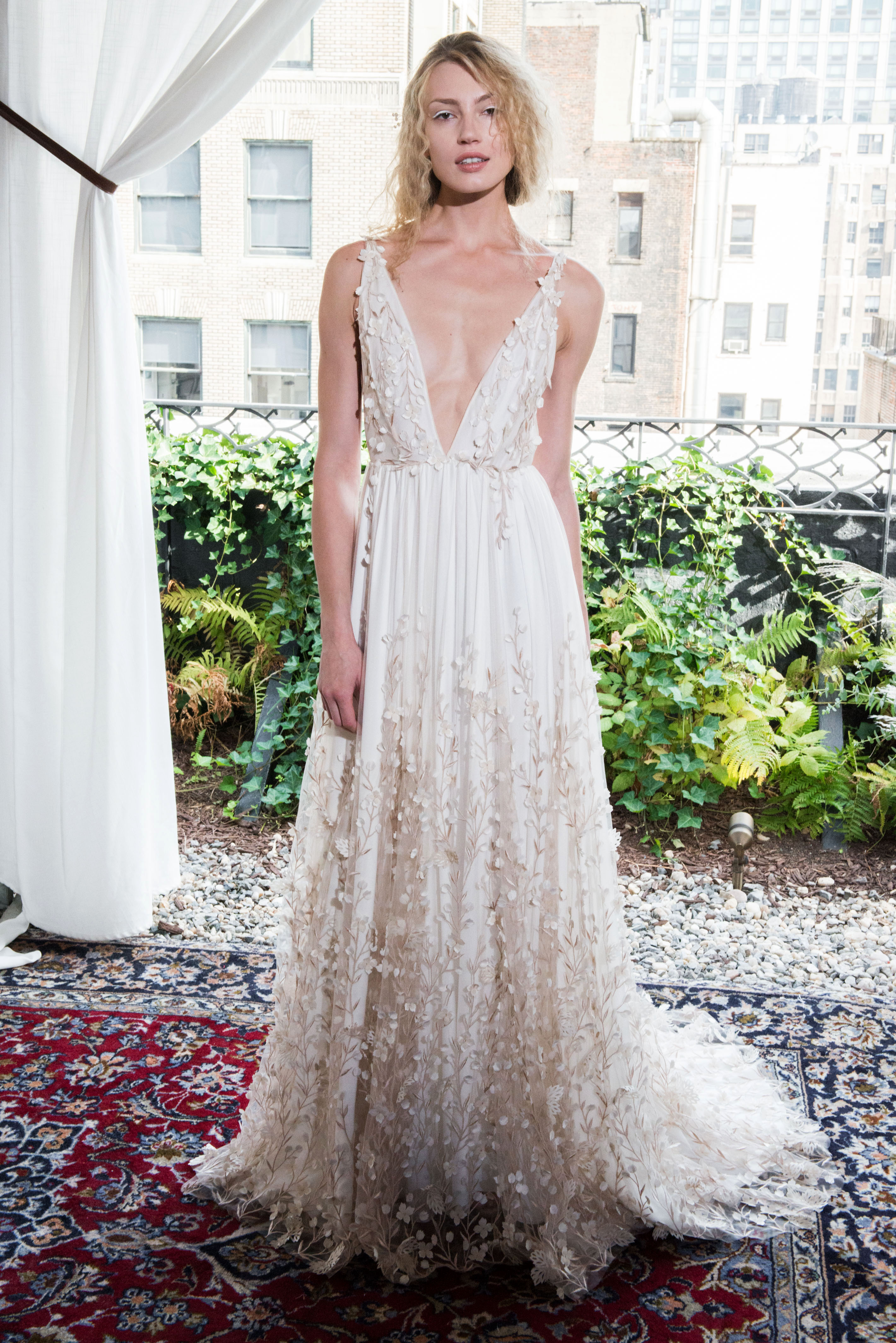 alexandra grecco wedding dress fall 2018 v-neck embellished sleeveless a-line