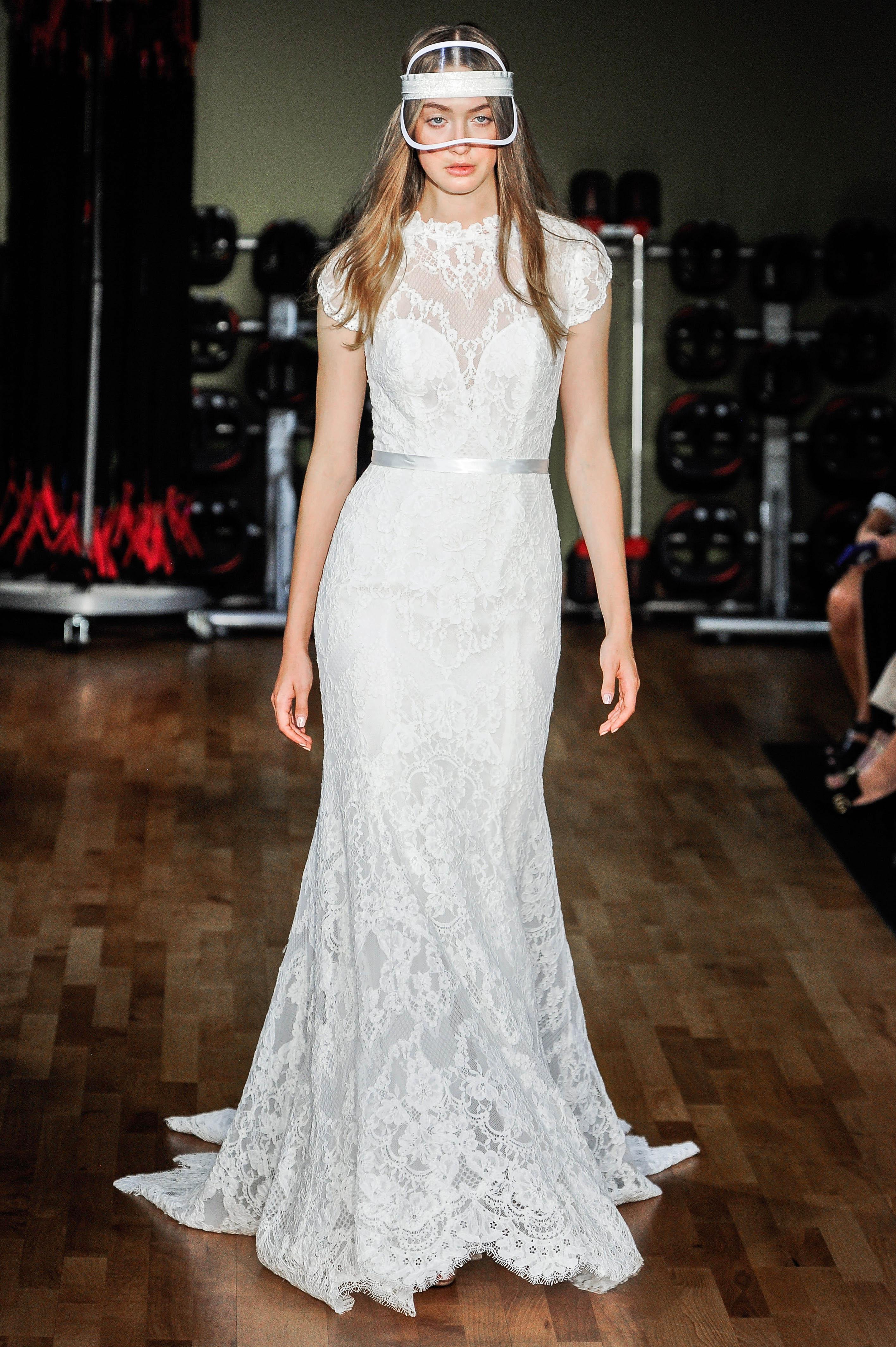 rivini by rita vinieris wedding dress fall 2018 lace trumpet high neck short sleeves