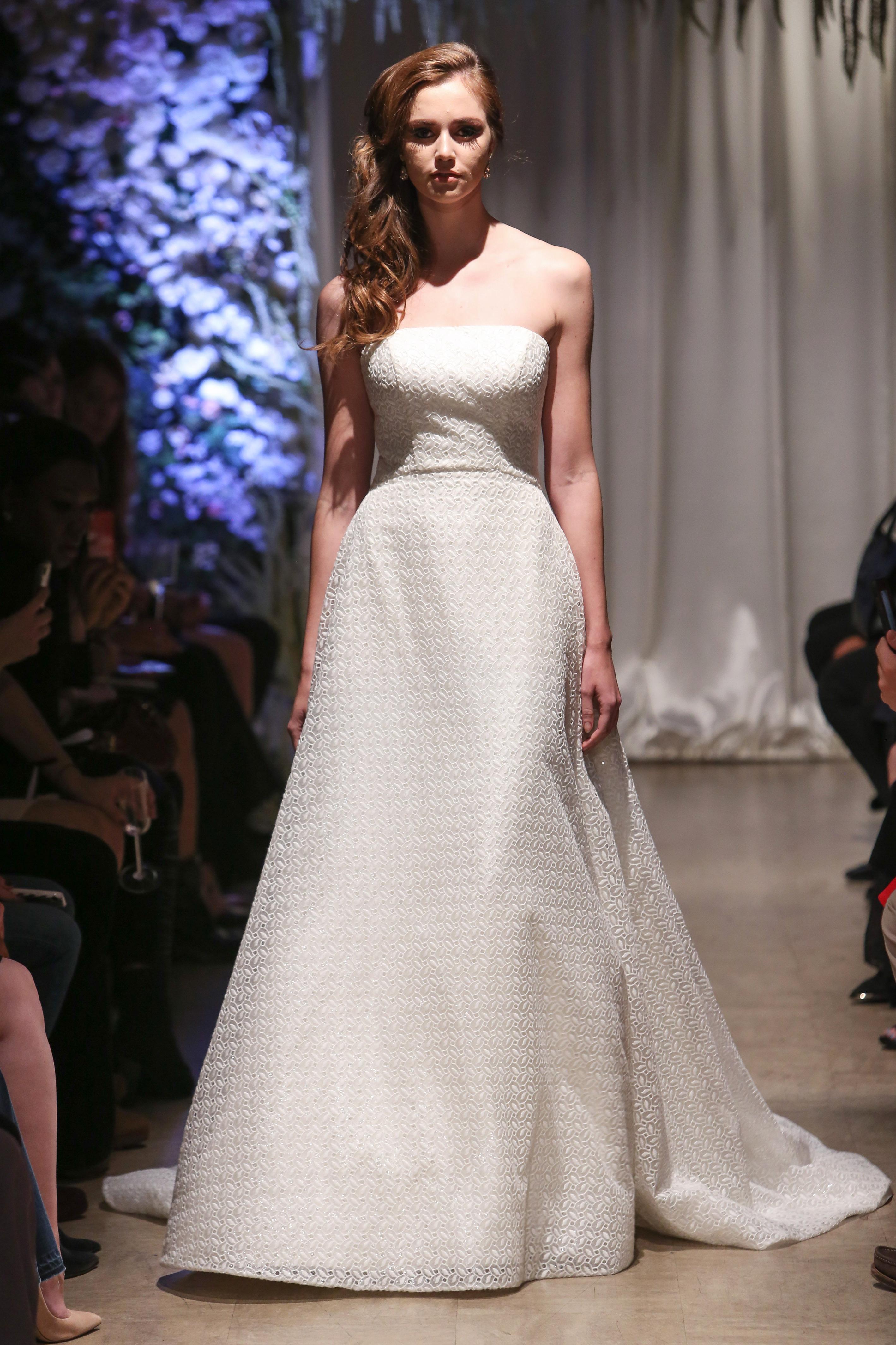 matthew christopher 2018 a-line patterned wedding dress