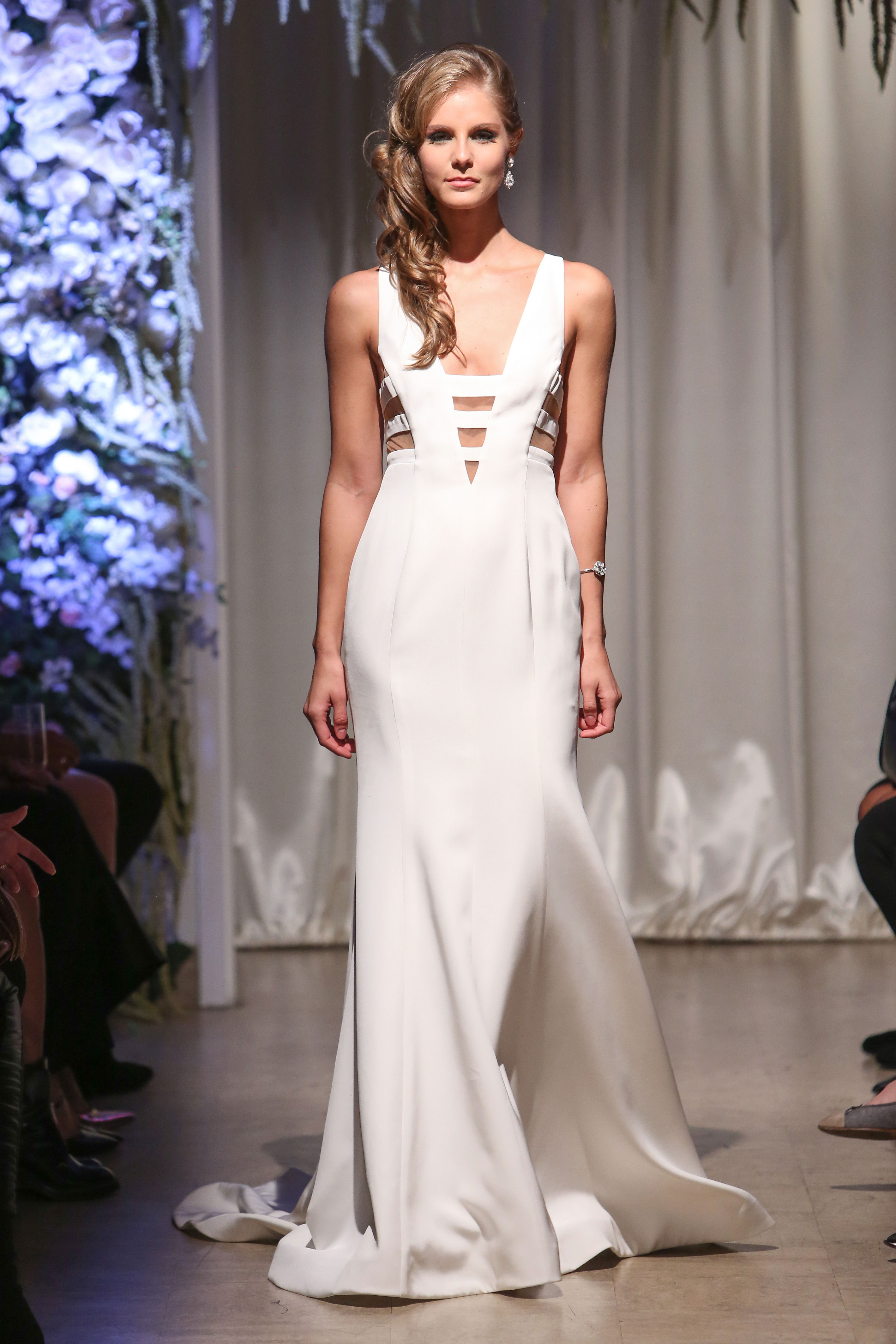 matthew christopher 2018 cutout v-neck wedding dress
