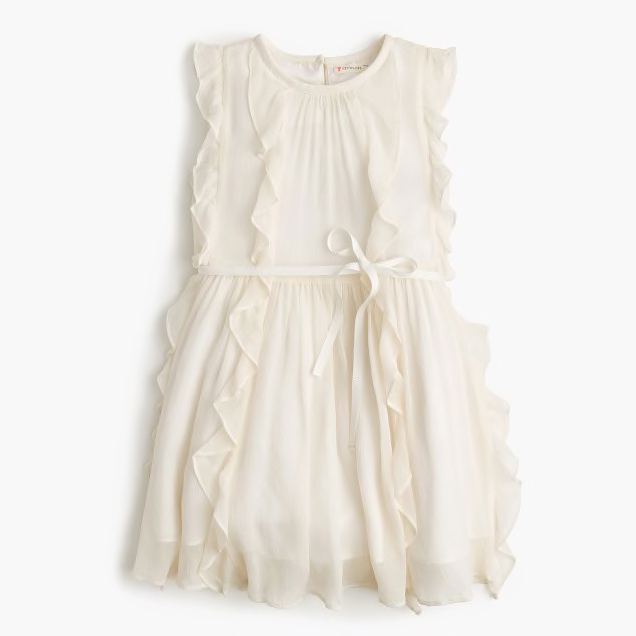 white ruffle flower girl dress