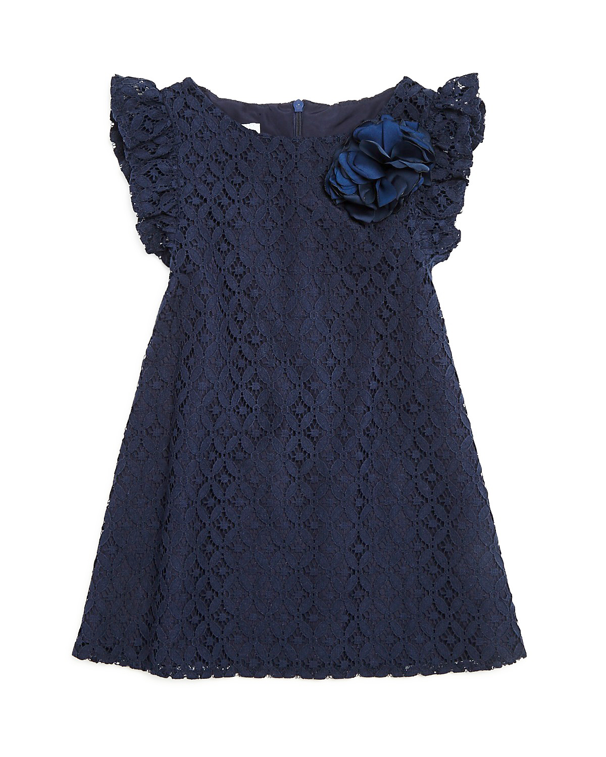 dark blue lace flower girl dress