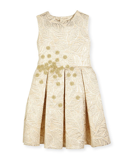 metallic flower girl dress