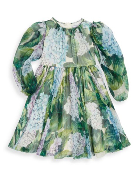long sleeve green floral flower girl dress