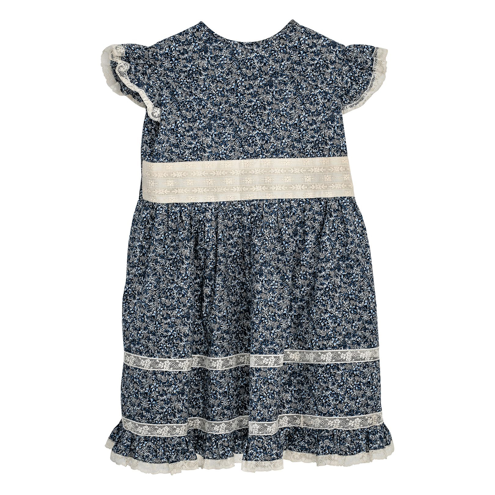 dark blue floral flower girl dress