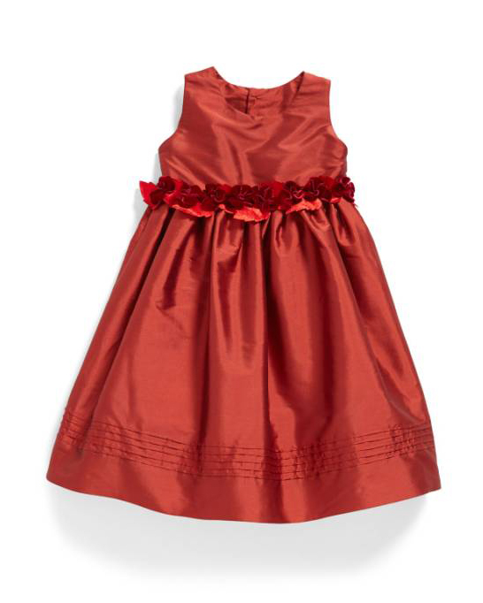 red belted flower girl dress