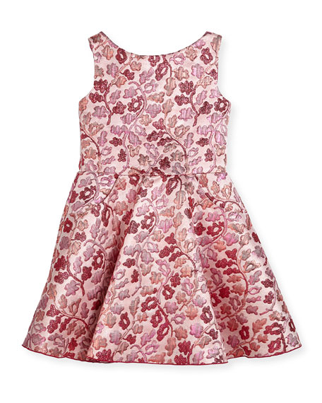pink red floral flower girl dress