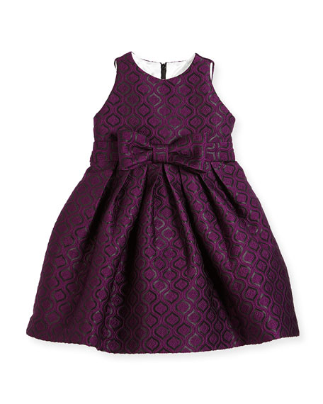 purple front bow flower girl dress