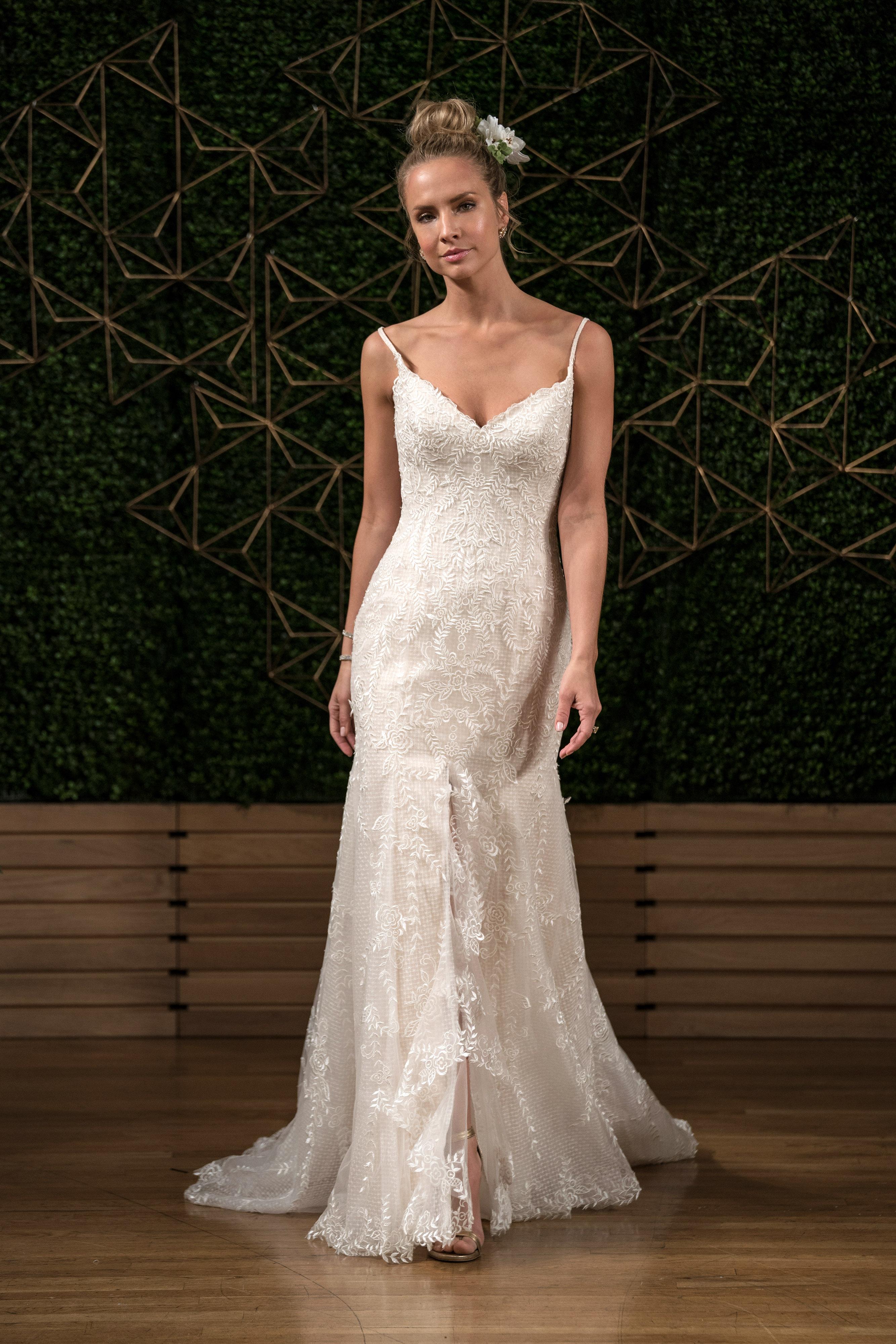 maggie sottero wedding dress fall 2018 lace spaghetti strap slit trumpet