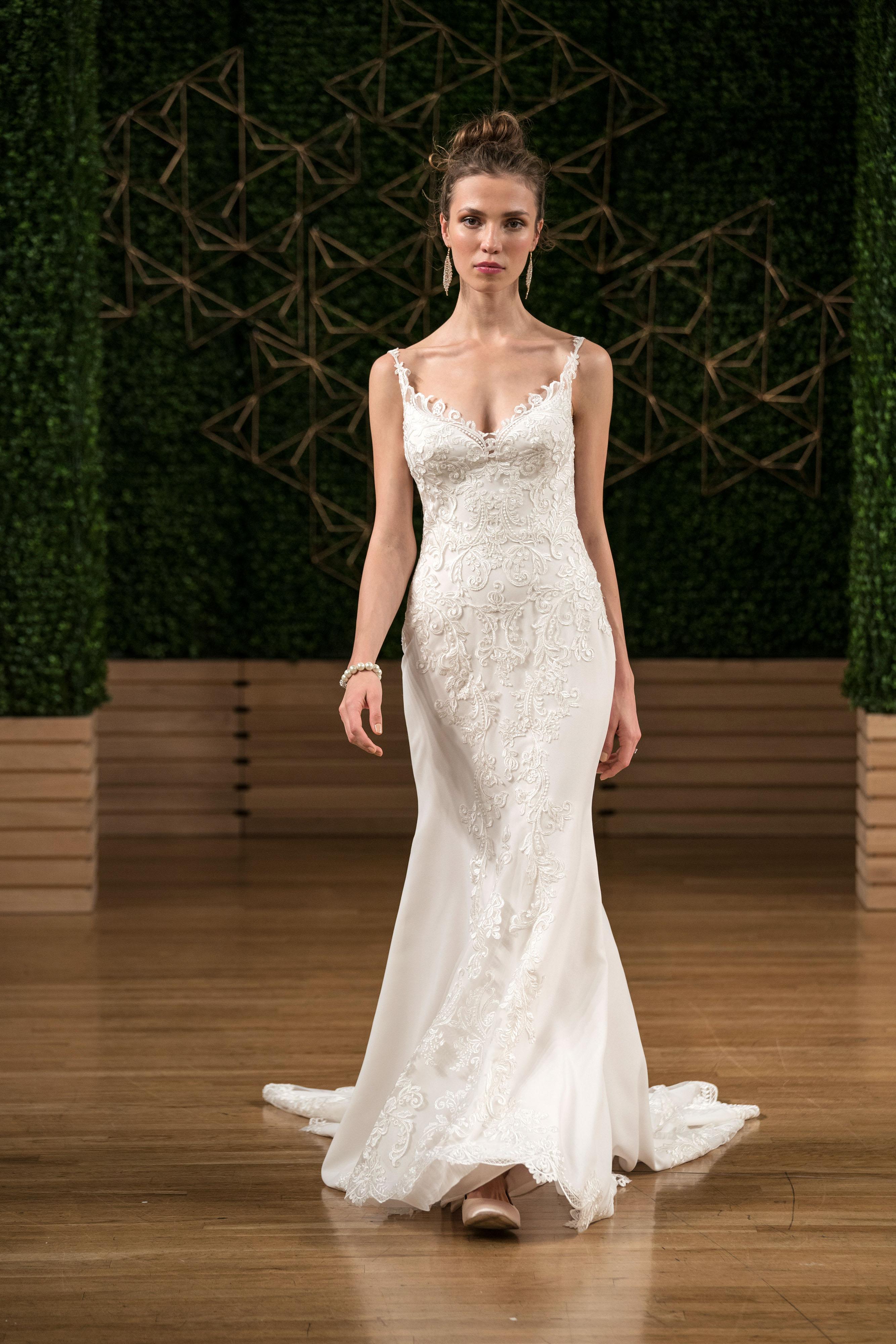 maggie sottero wedding dress fall 2018 spaghetti strap trumpet embellished
