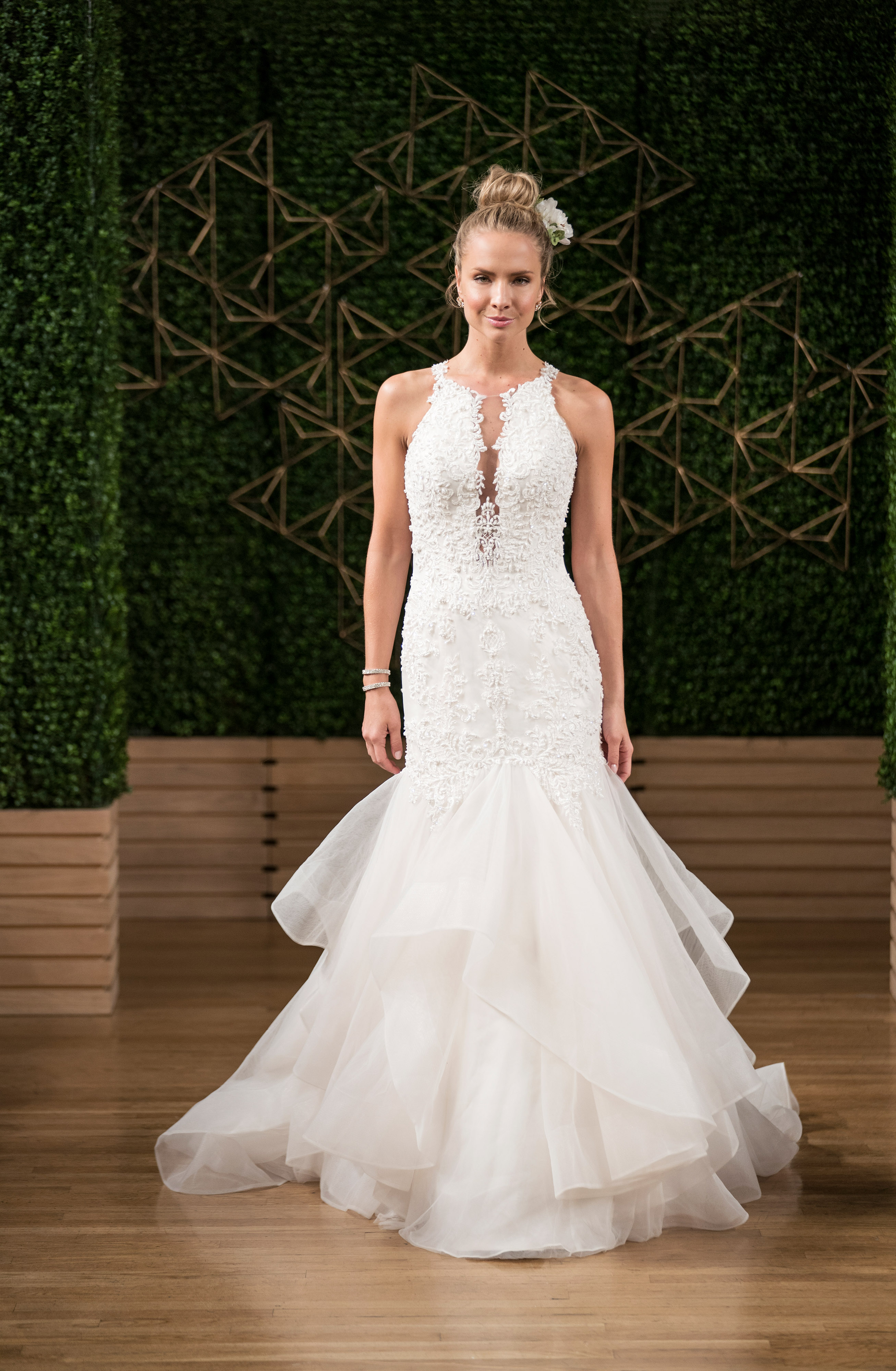 maggie sottero wedding dress fall 2018 sleeveless high neck trumpet lace