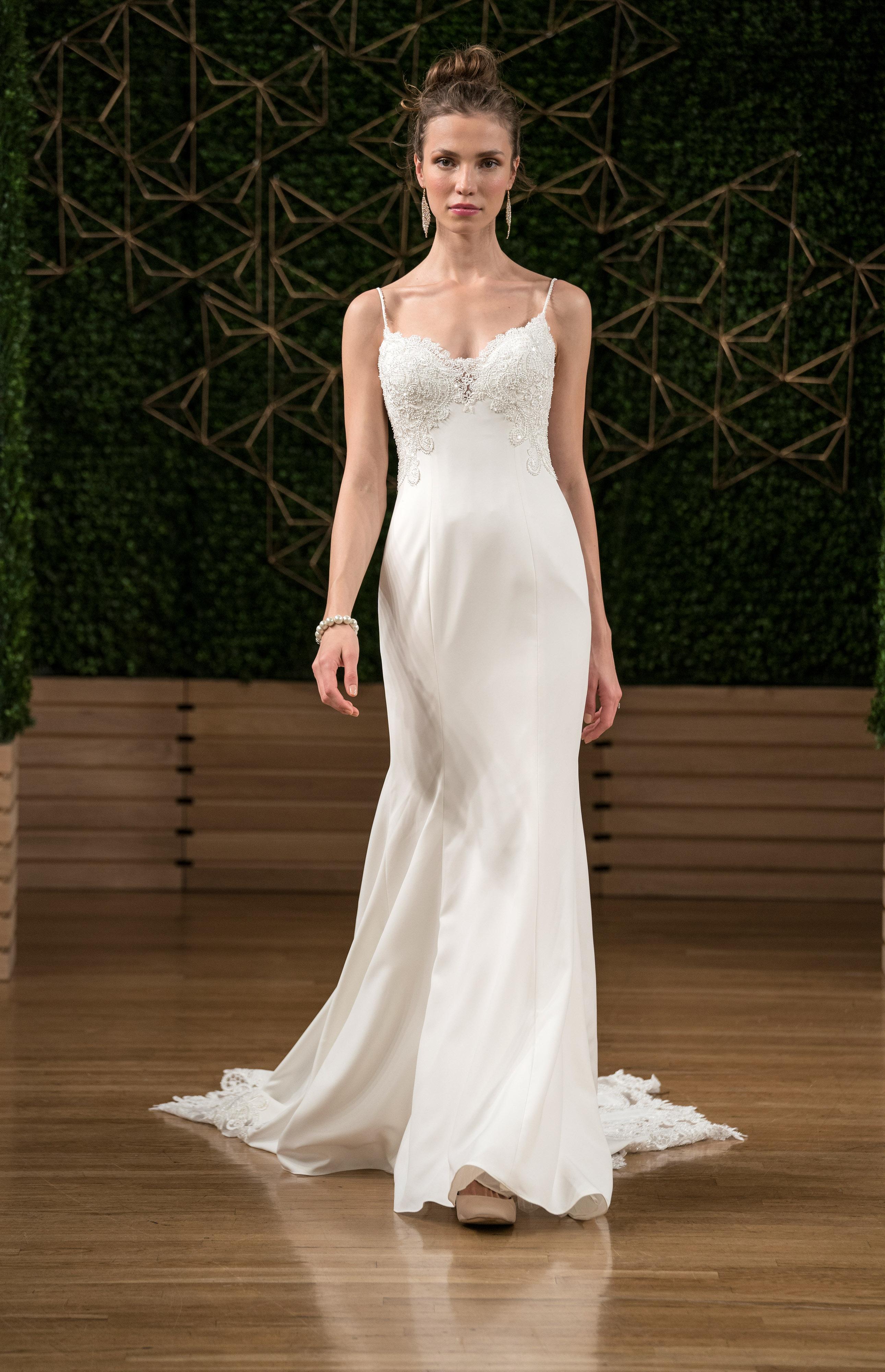 maggie sottero wedding dress fall 2018 spaghetti strap embellished sheath