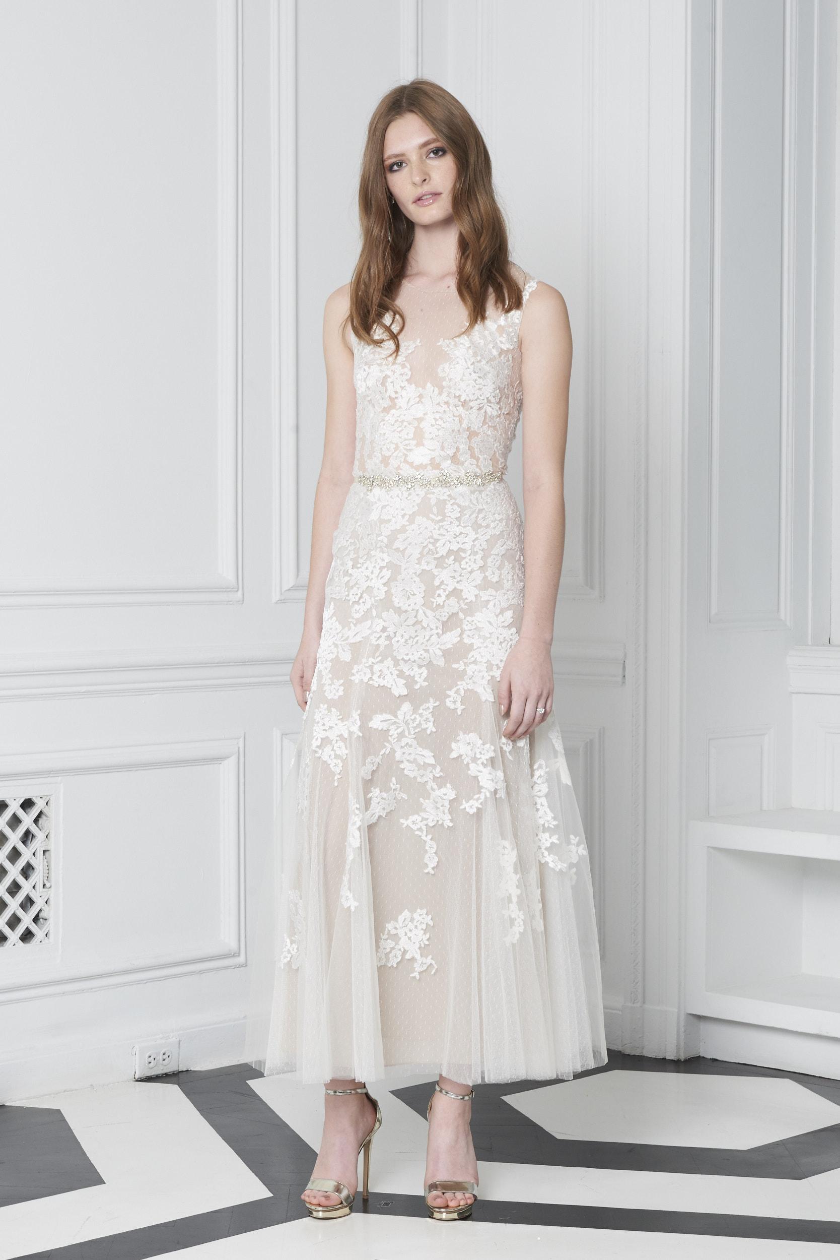 Monique Lhuillier Bliss Fall 2018 Tea-Length Embroidered A-Line Wedding Dress