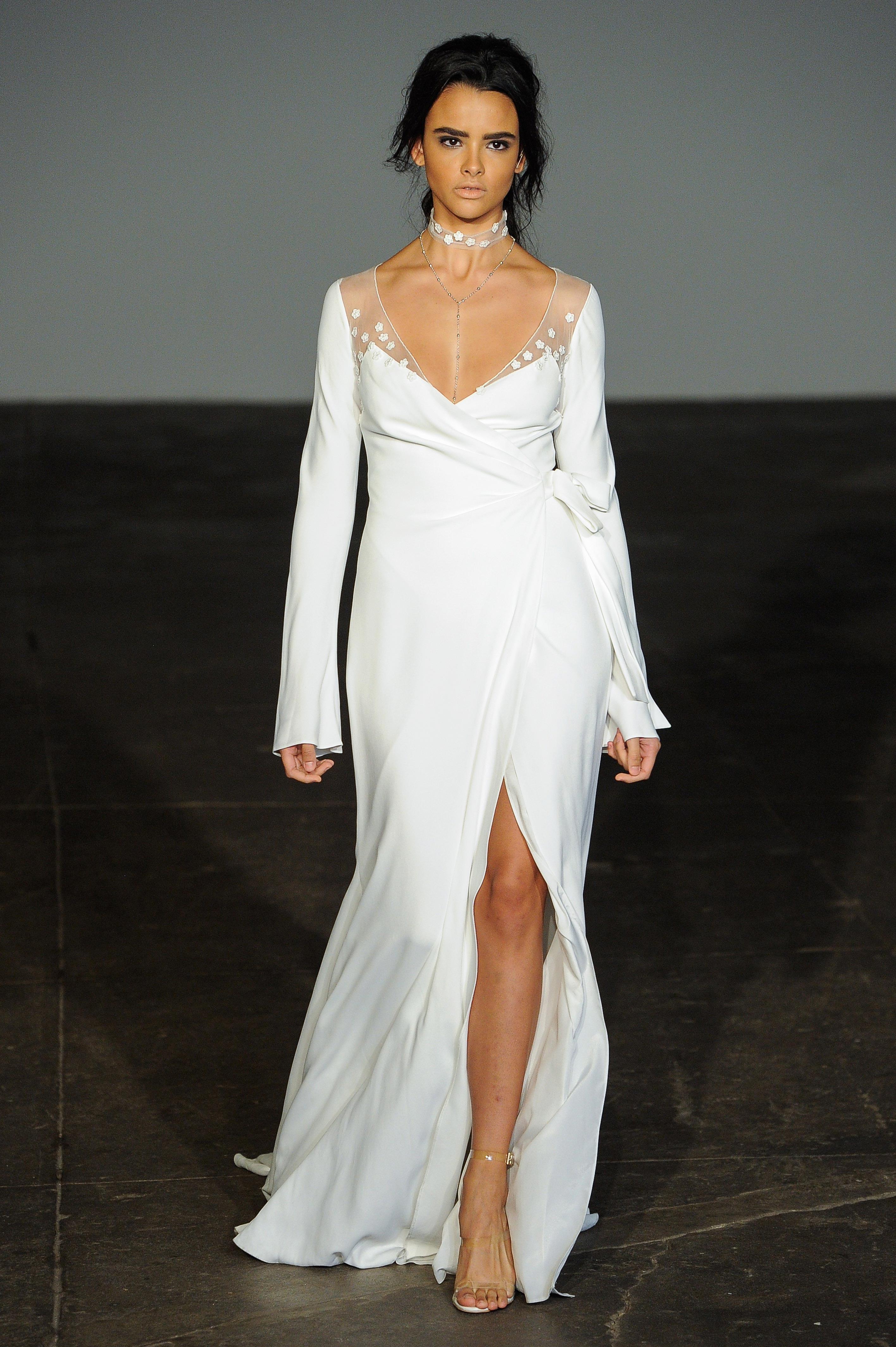 rime arodaky fall 2018 v-neck long-sleeve wedding dress