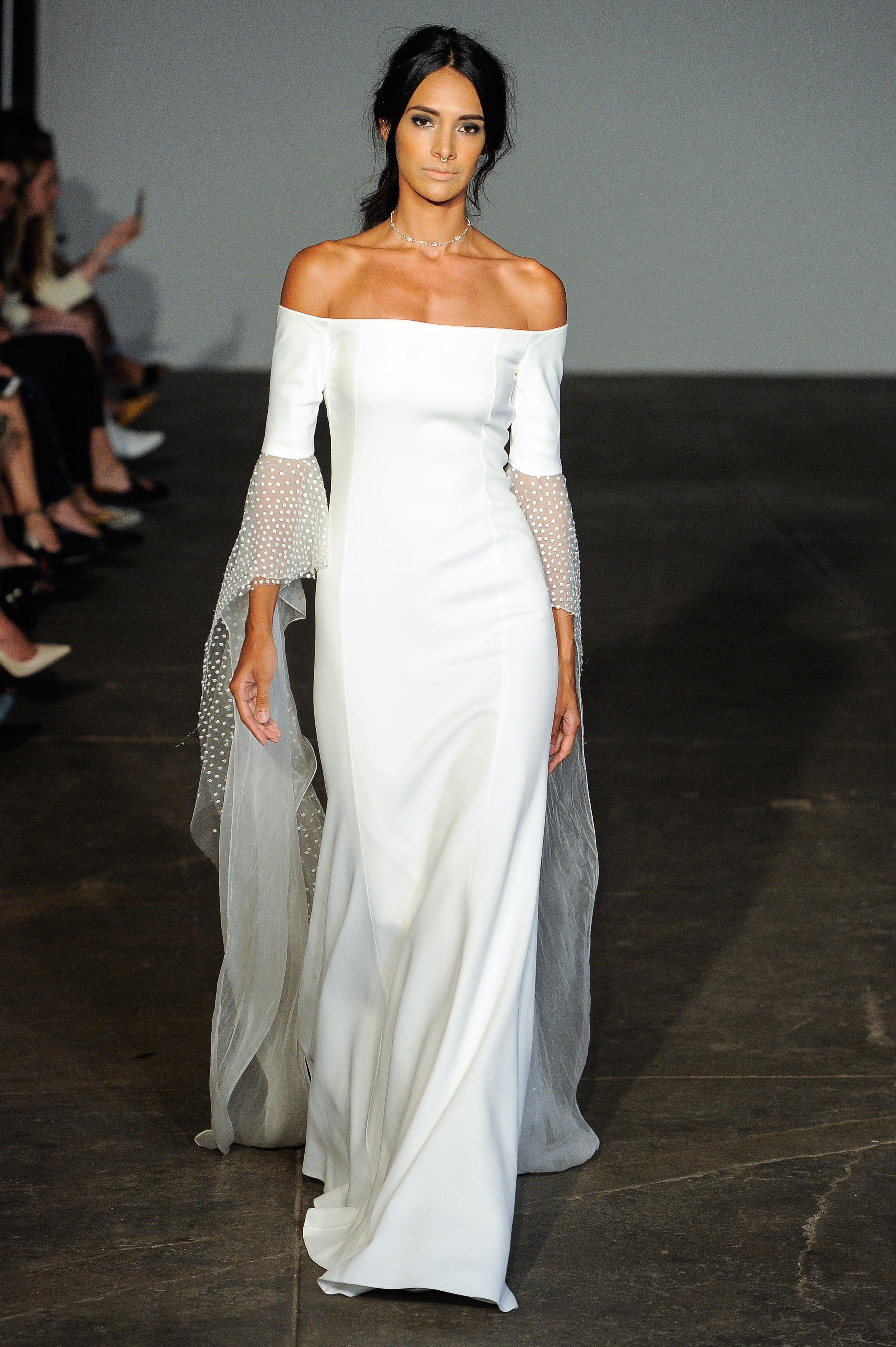 rime arodaky fall 2018 off the shoulder long sleeve wedding dress