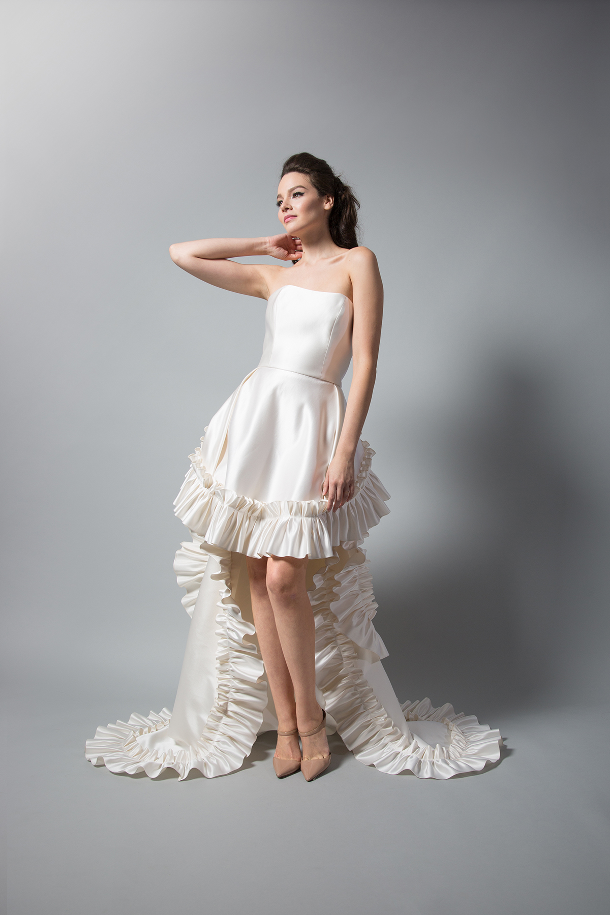 randi rahm strapless silk dress with ruffles fall 2018