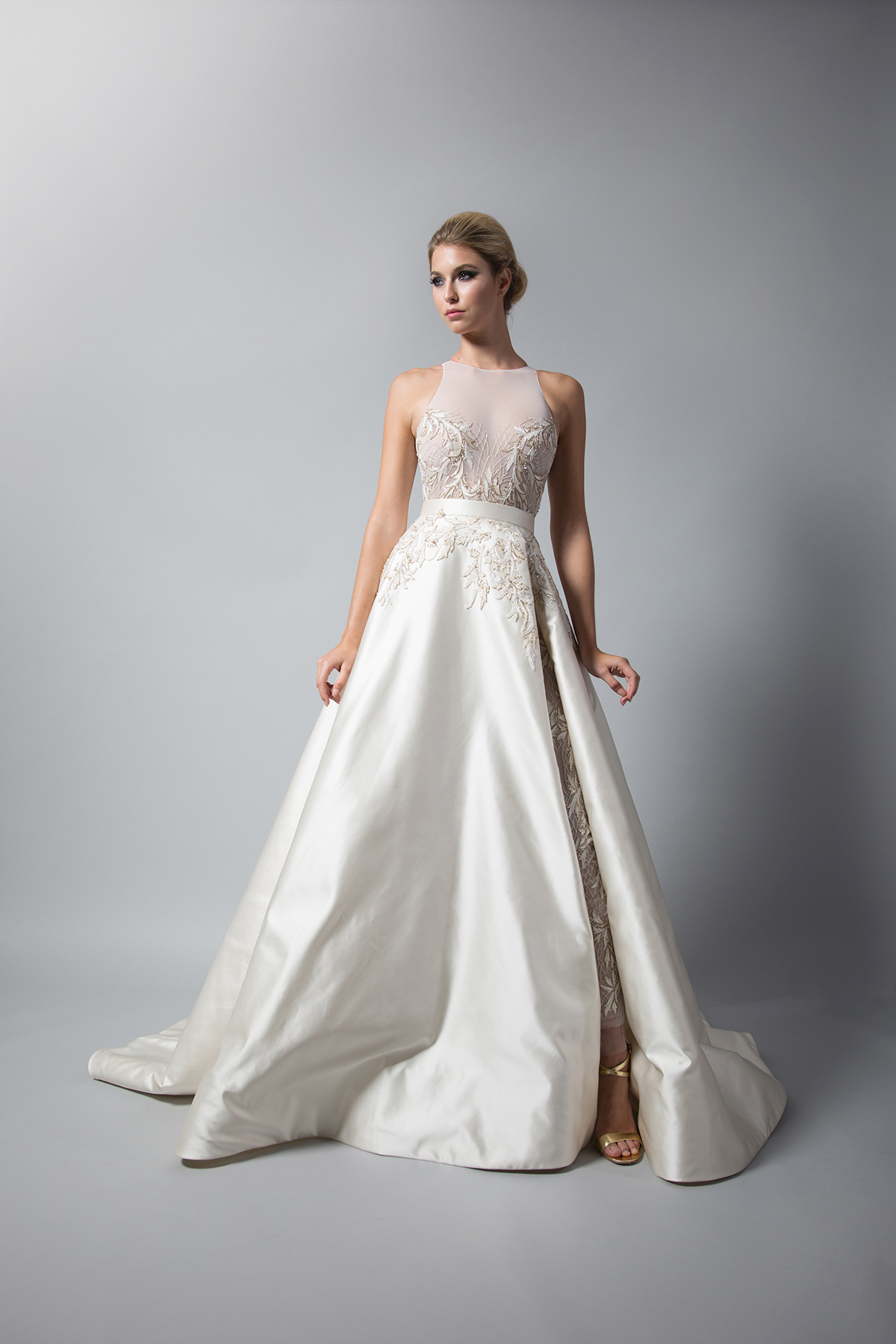 randi rahm high neck a-line wedding dress fall 2018