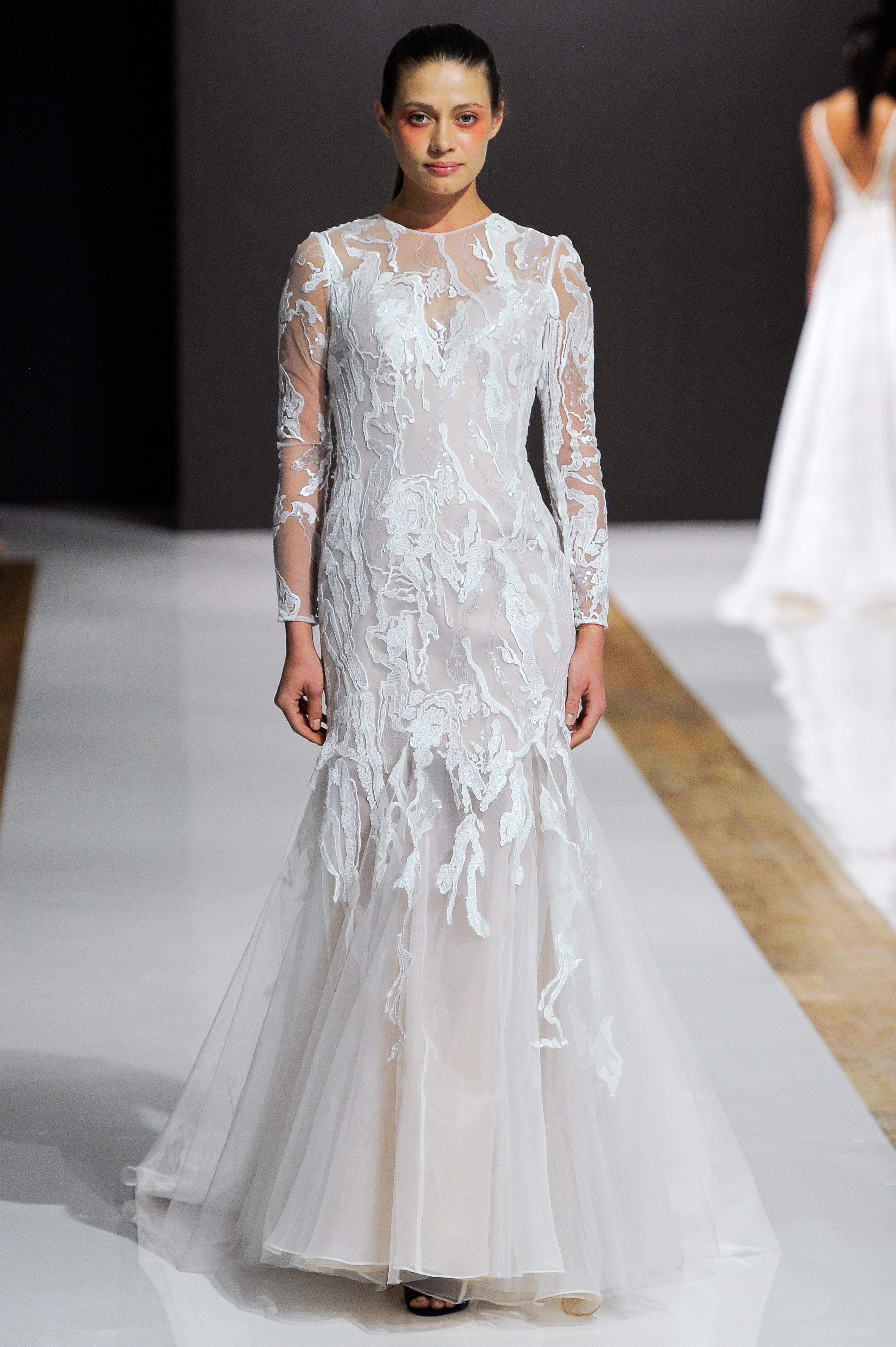 mark zunino wedding dress fall 2018 long sleeves sheer trumpet
