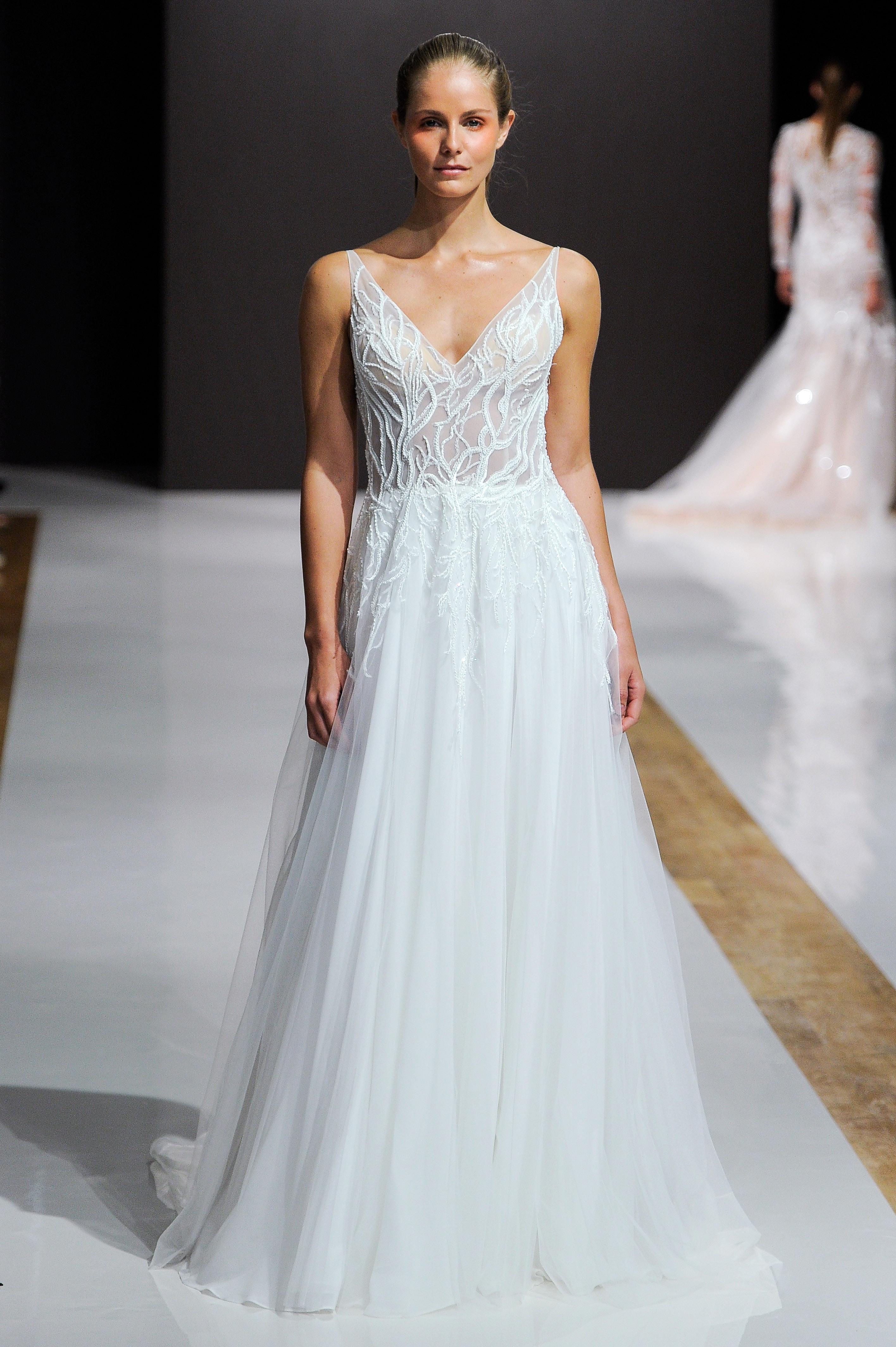 mark zunino wedding dress fall 2018 v neck a-line sheer