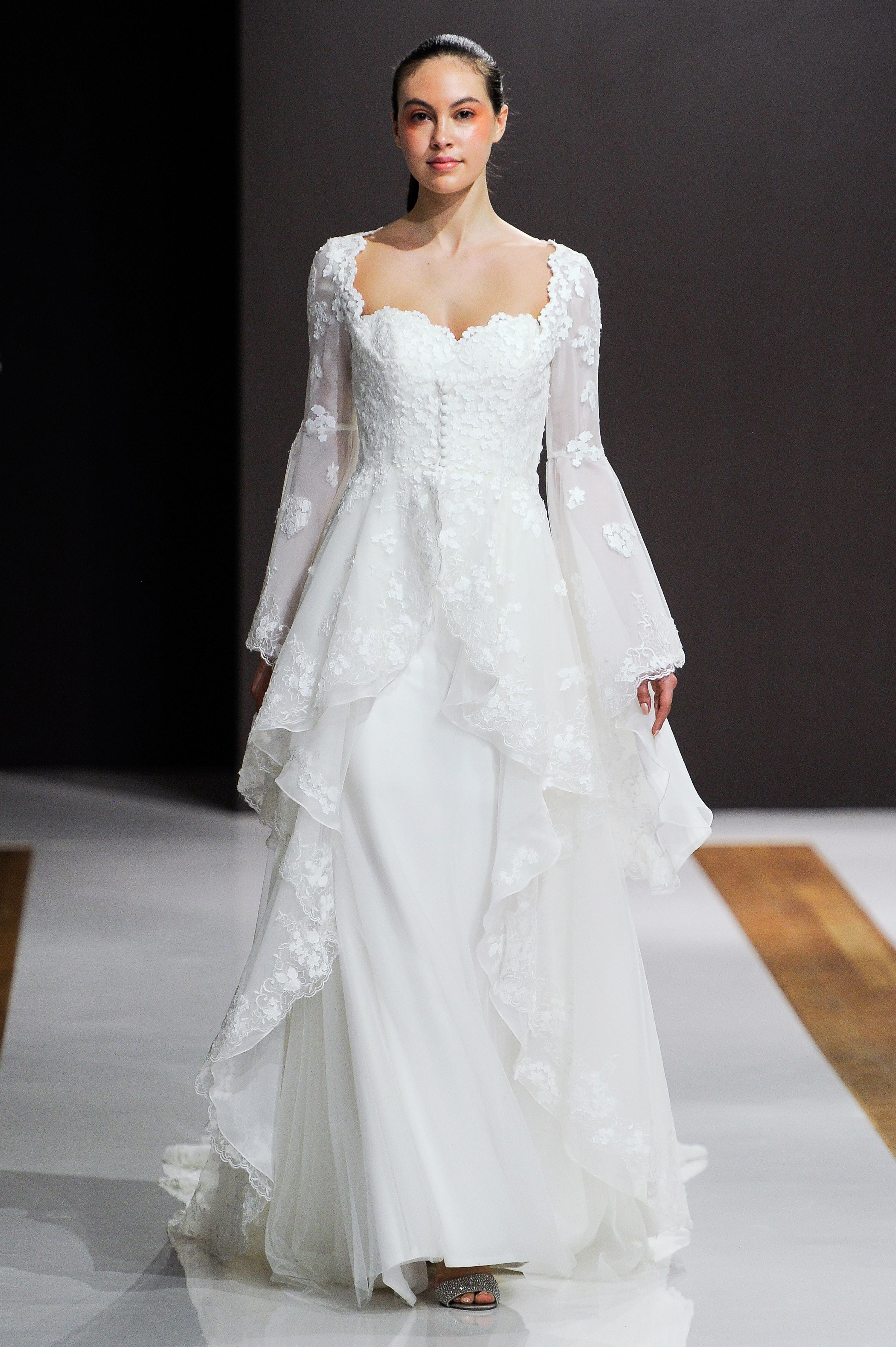 mark zunino wedding dress fall 2018 long bell sleeves ruffle lace