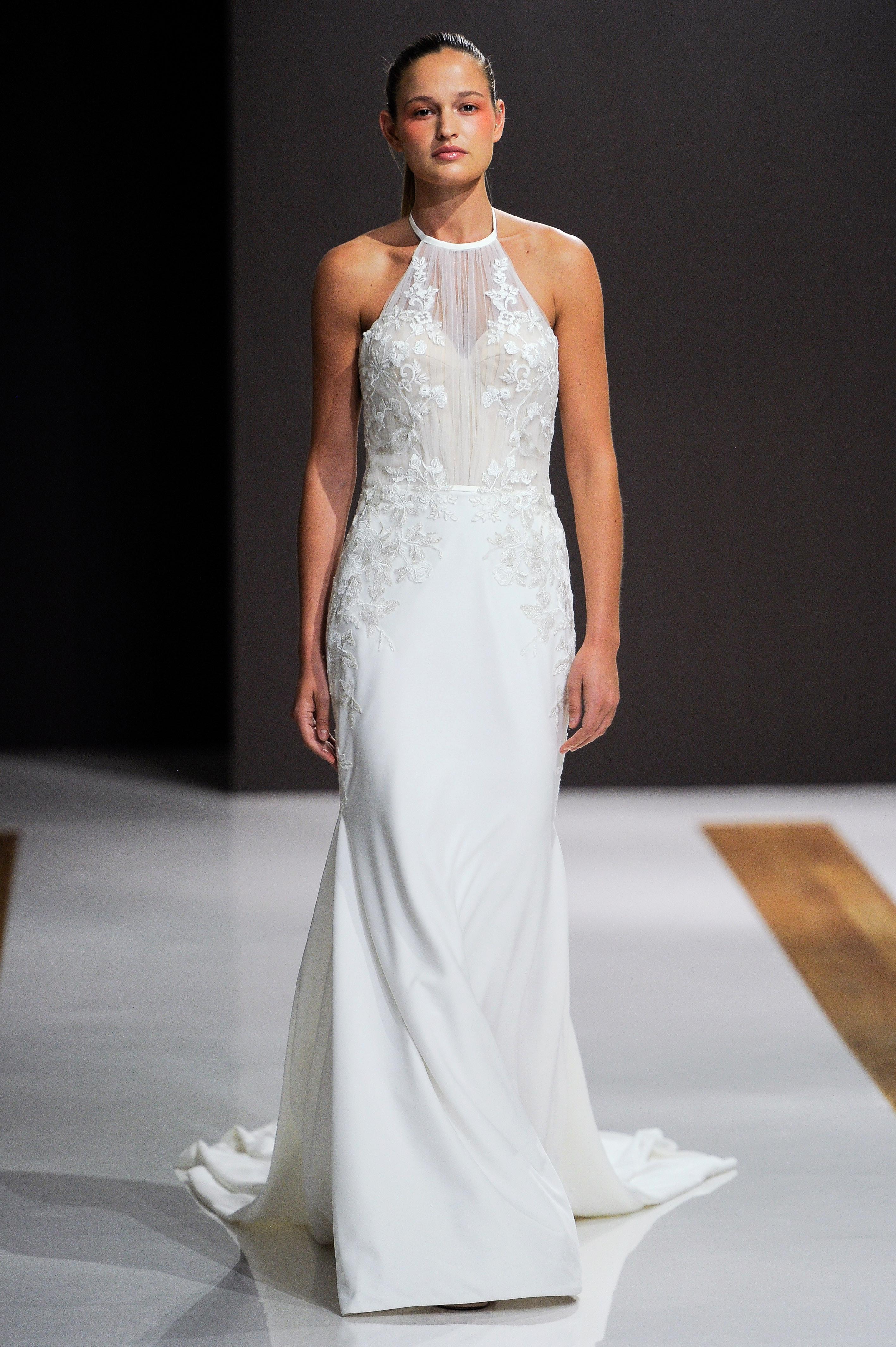 mark zunino wedding dress fall 2018 halter flowy column