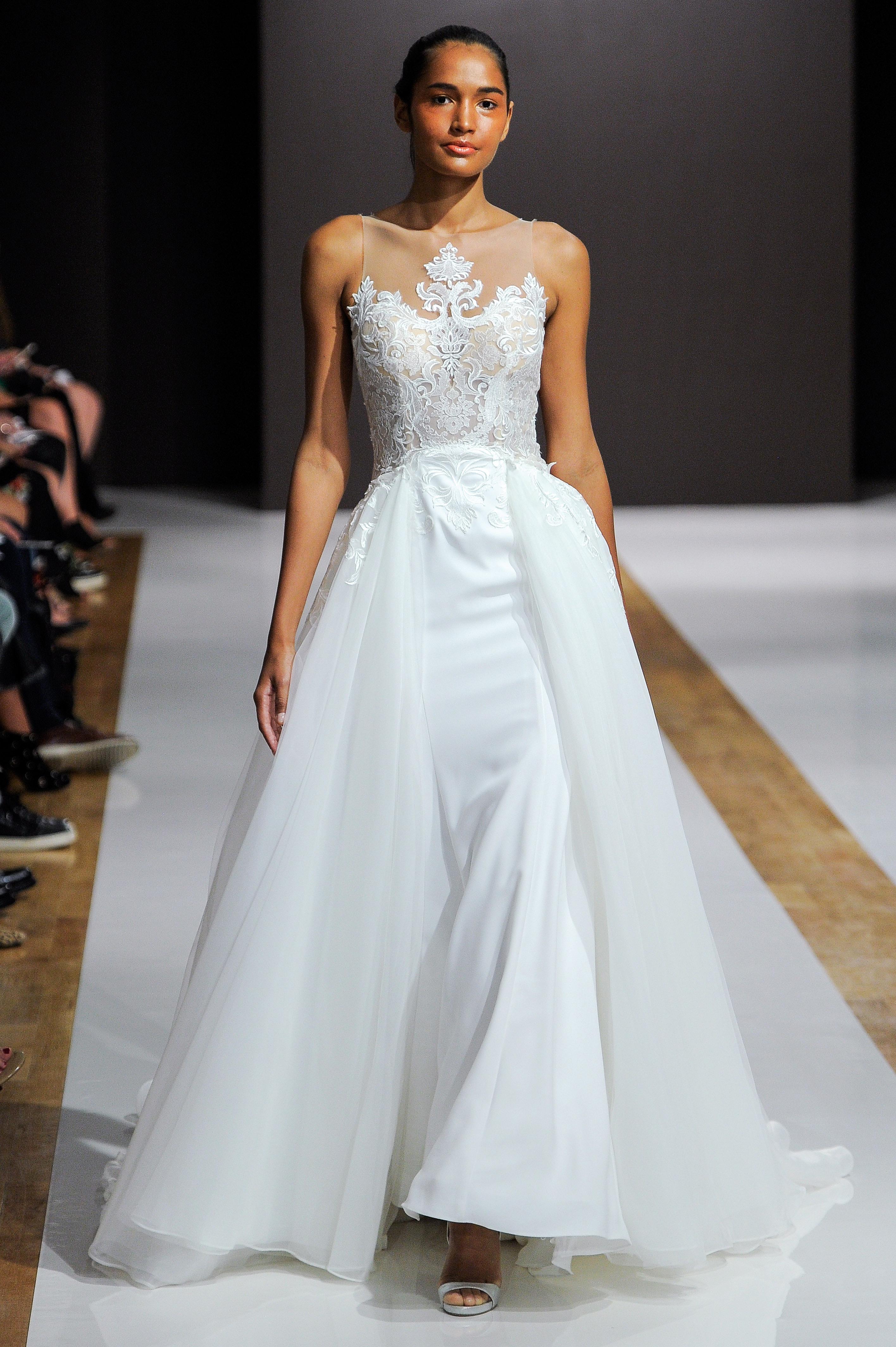 mark zunino wedding dress fall 2018 illusion neckline ball gown