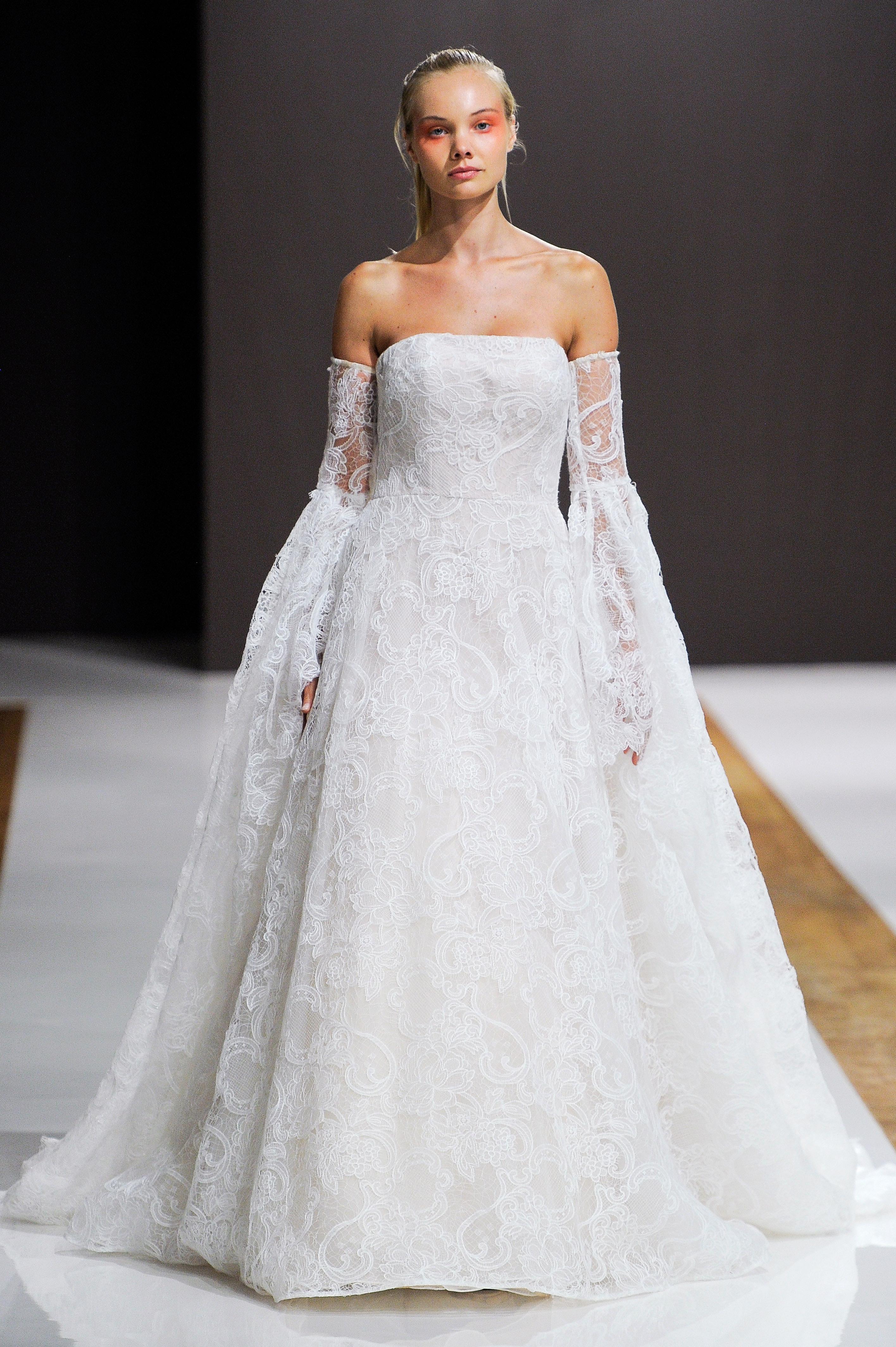 mark zunino wedding dress fall 2018 strapless lace bell sleeves