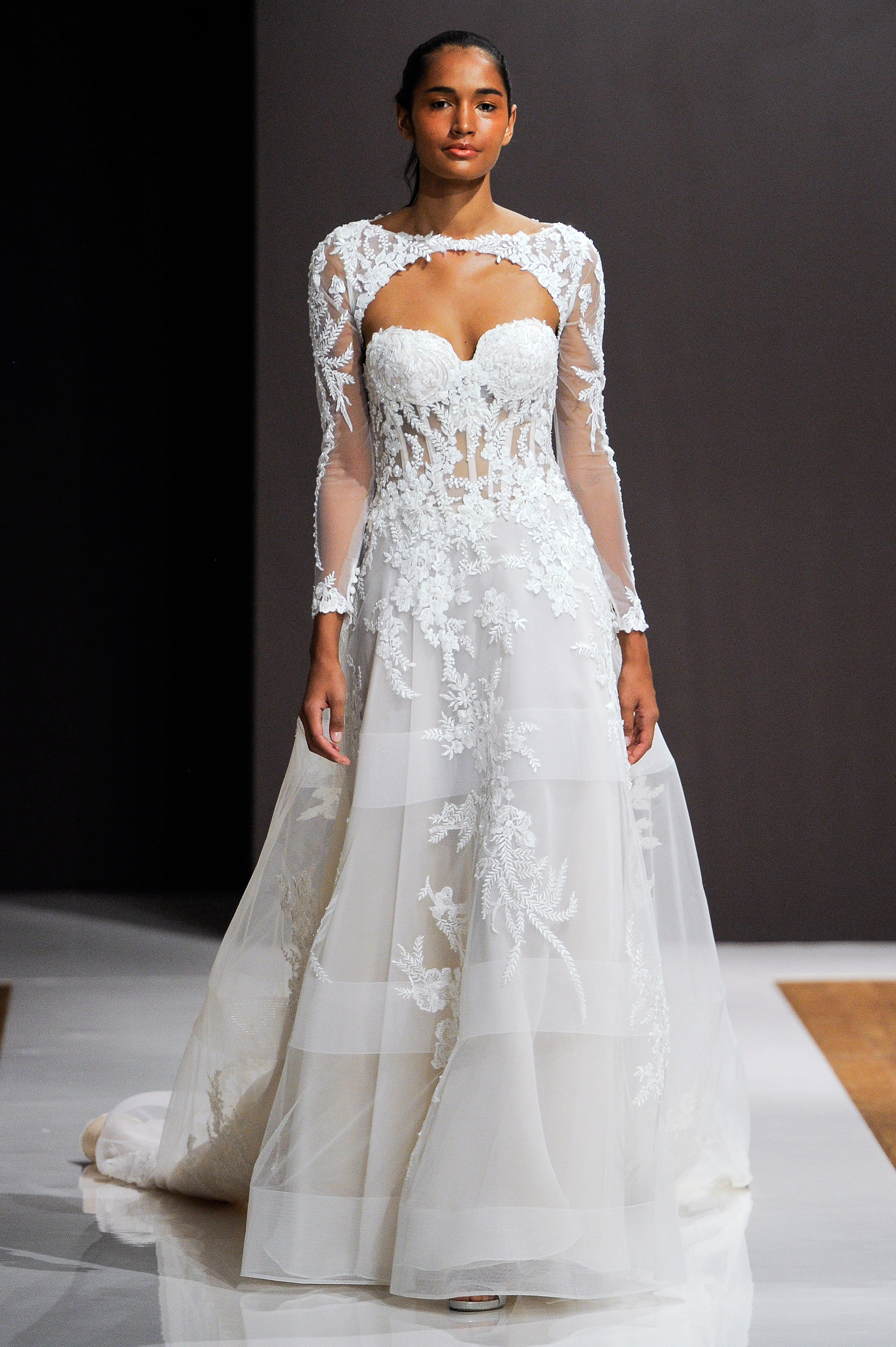 mark zunino wedding dress fall 2018 cut-out embellished long sleeves