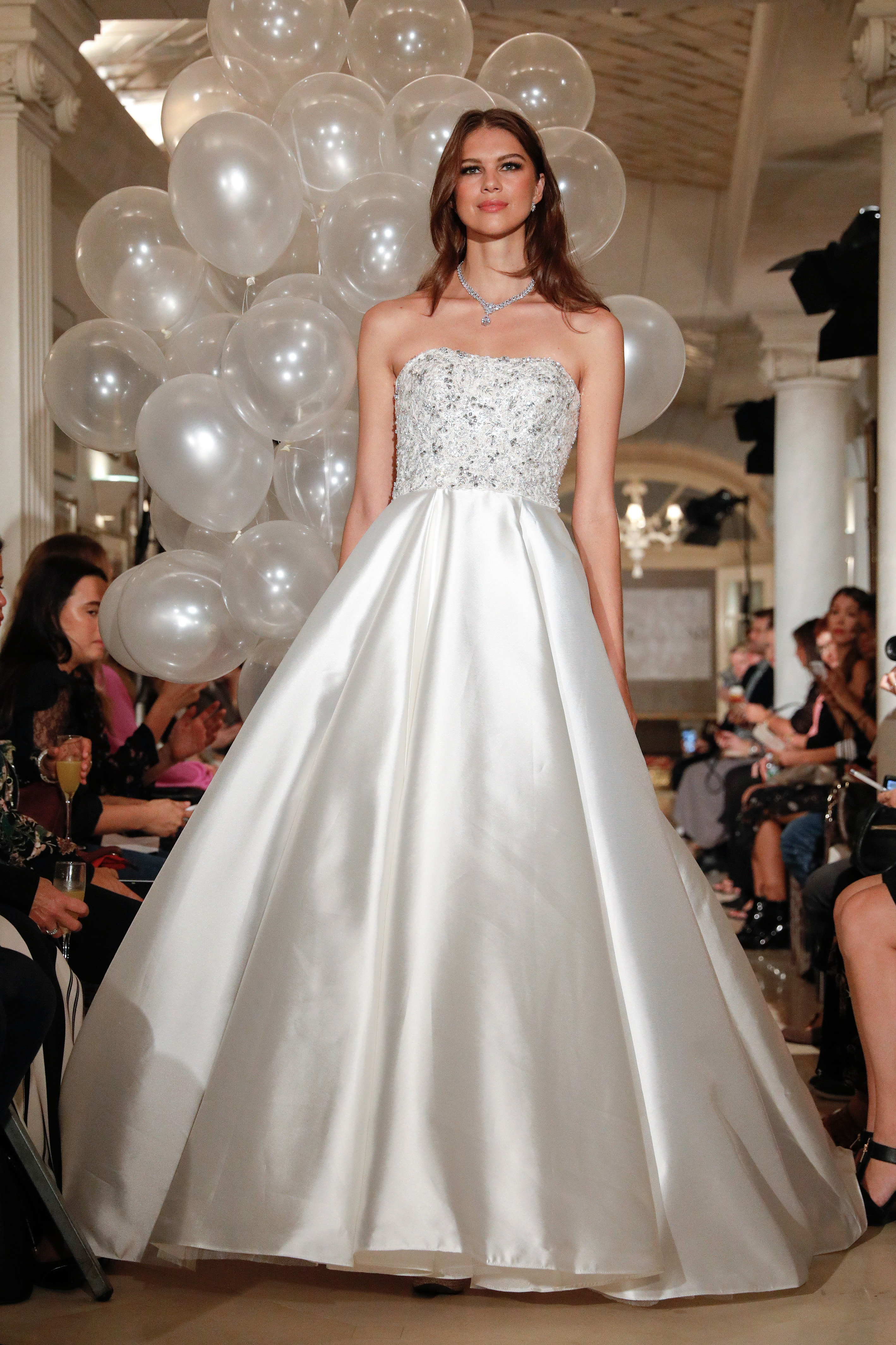oleg cassini wedding dress fall 2018 strapless a-line embellished
