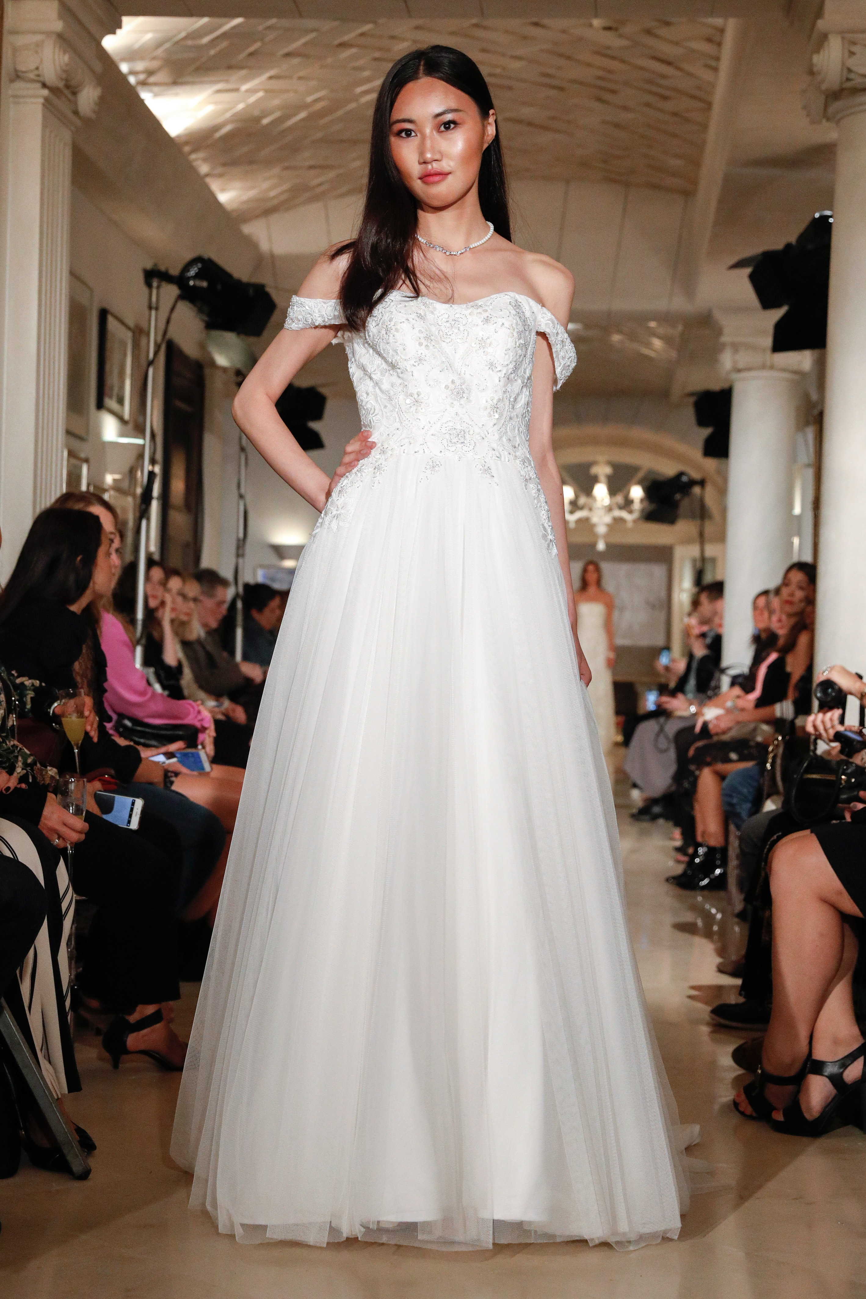 oleg cassini wedding dress fall 2018 off the shoulder tulle beaded