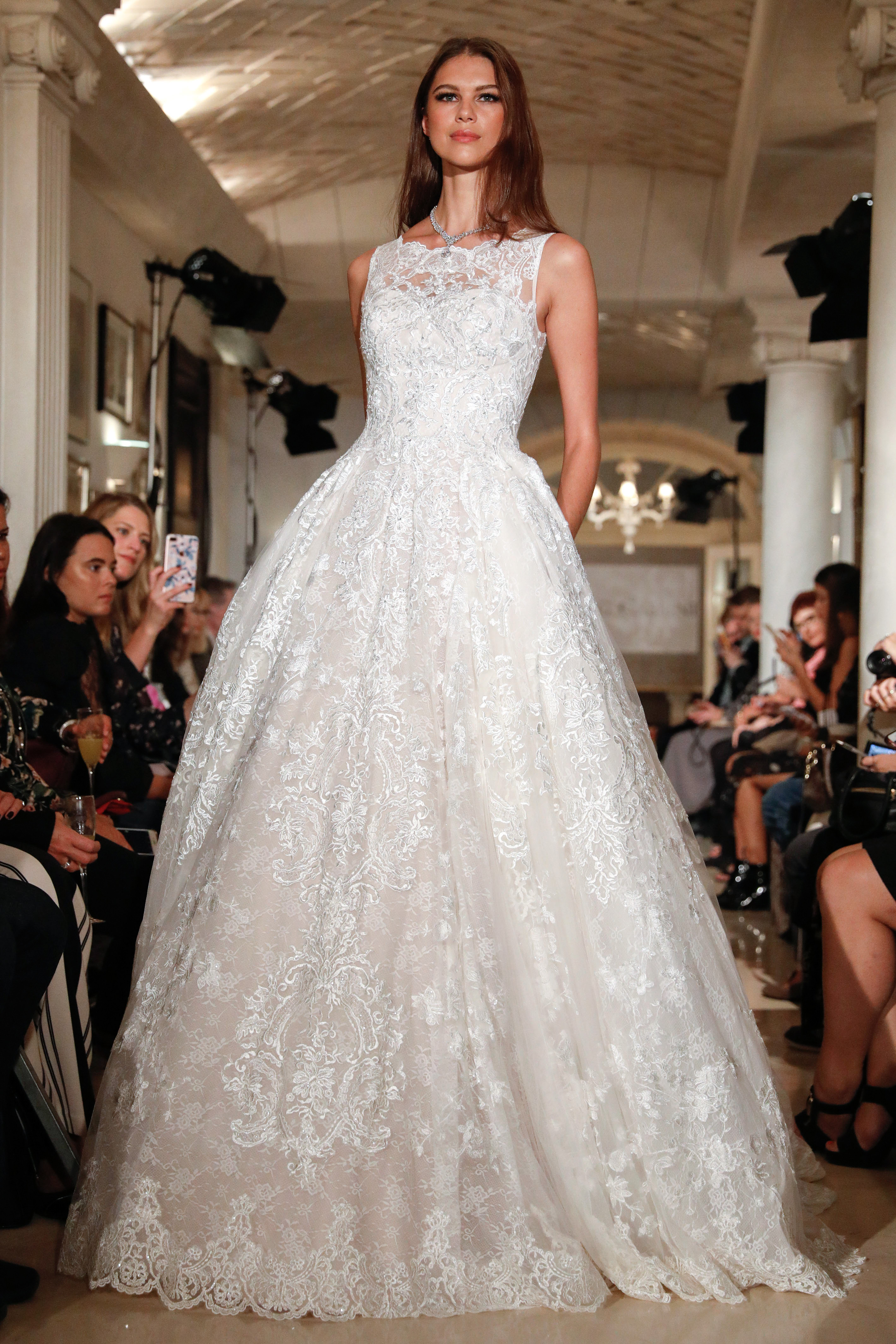 oleg cassini wedding dress fall 2018 sleeveless lace ball gown