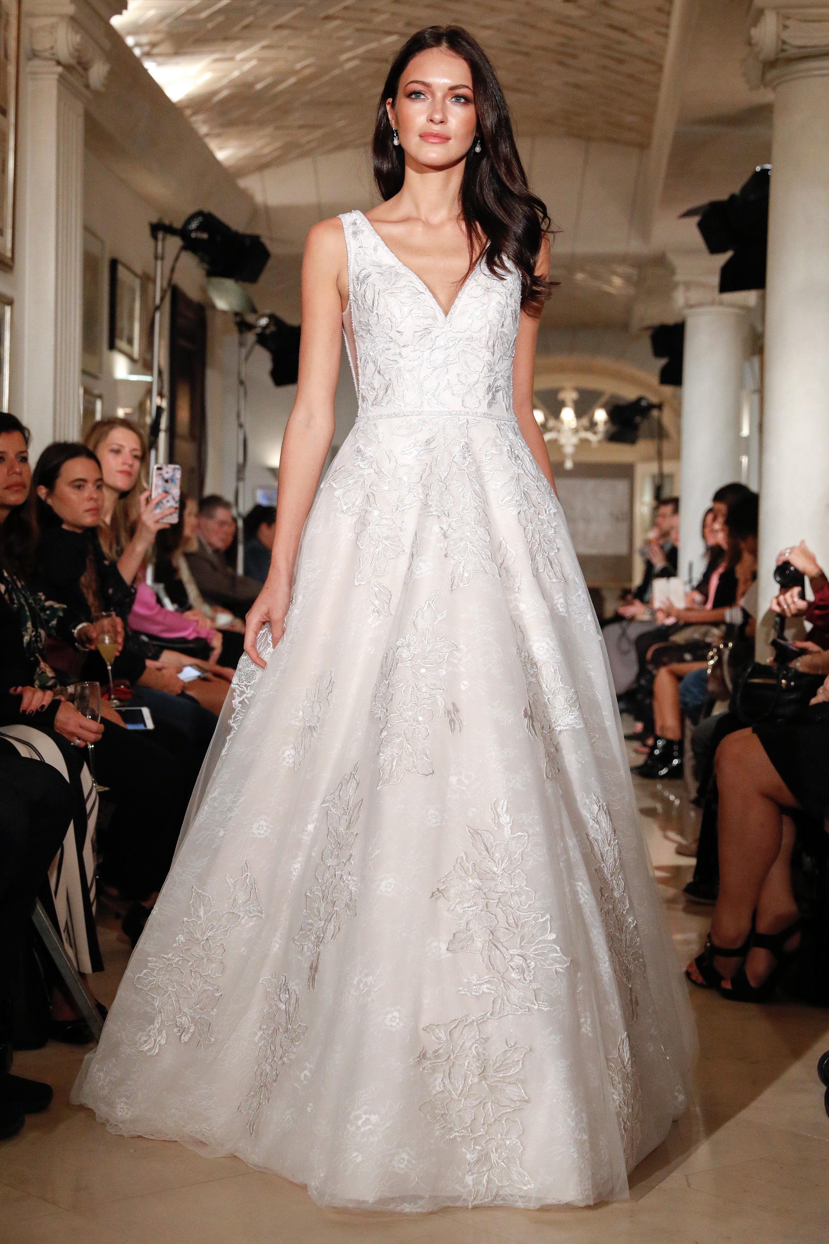 oleg cassini wedding dress fall 2018 deep v sleeveless a-line