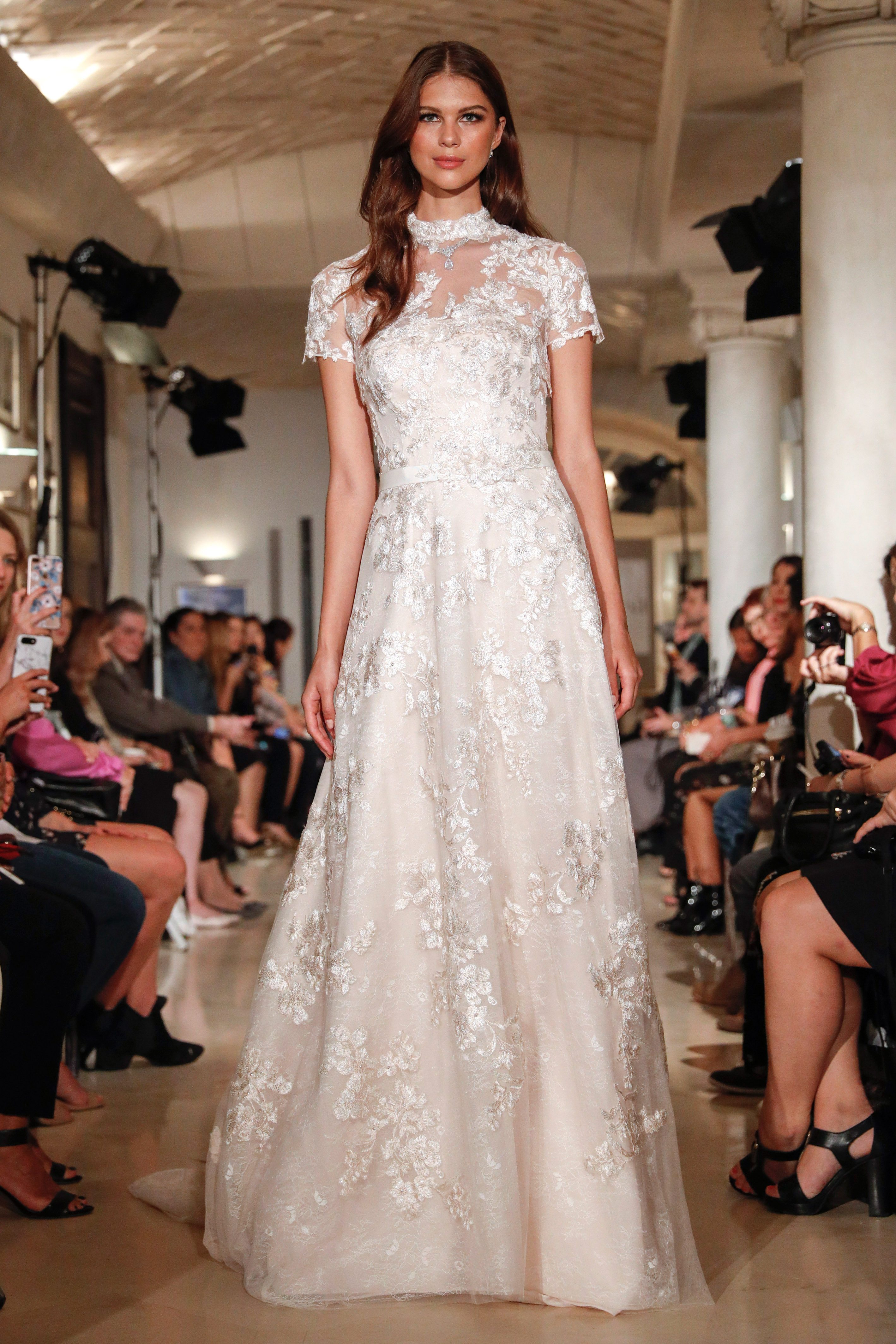 oleg cassini wedding dress fall 2018 short sleeves high neck lace