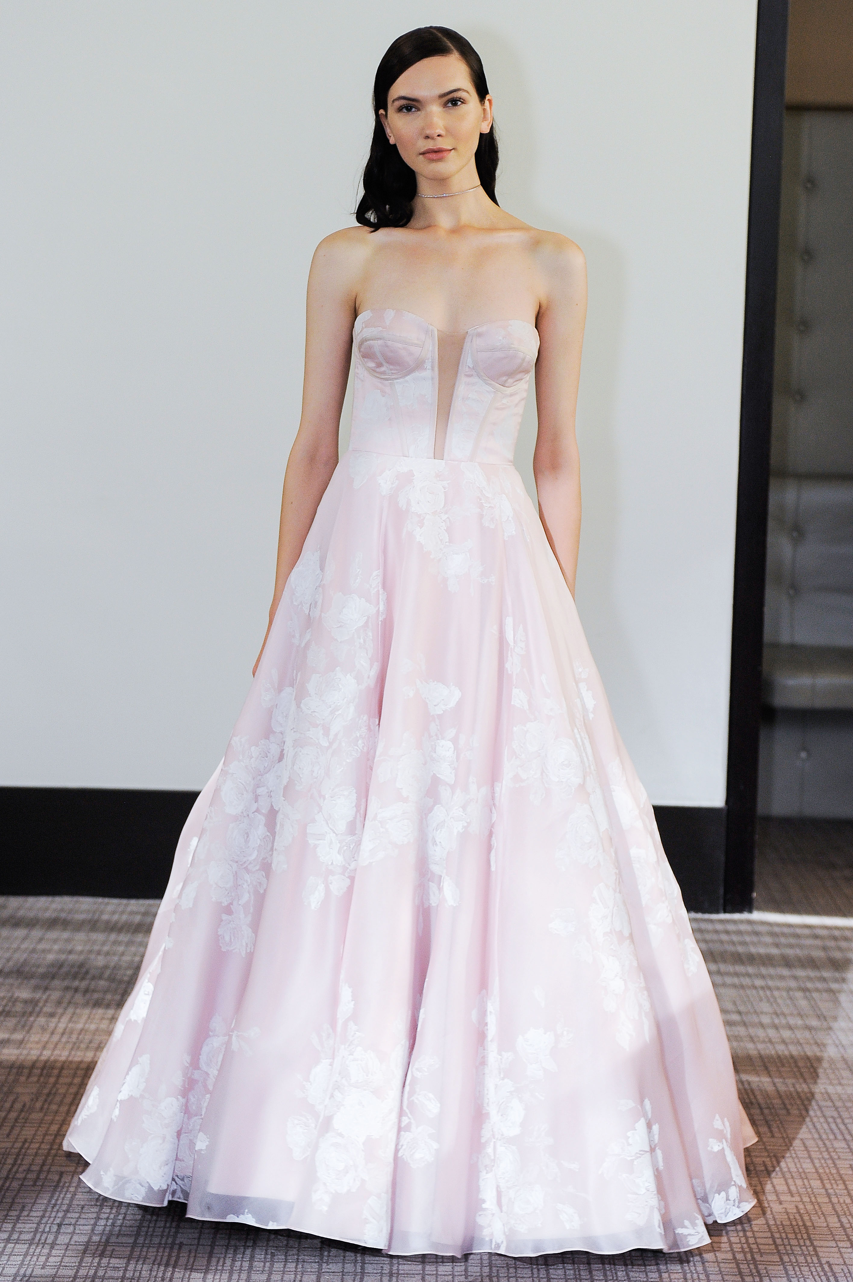 gracy accad pink strapless wedding dress fall 2018