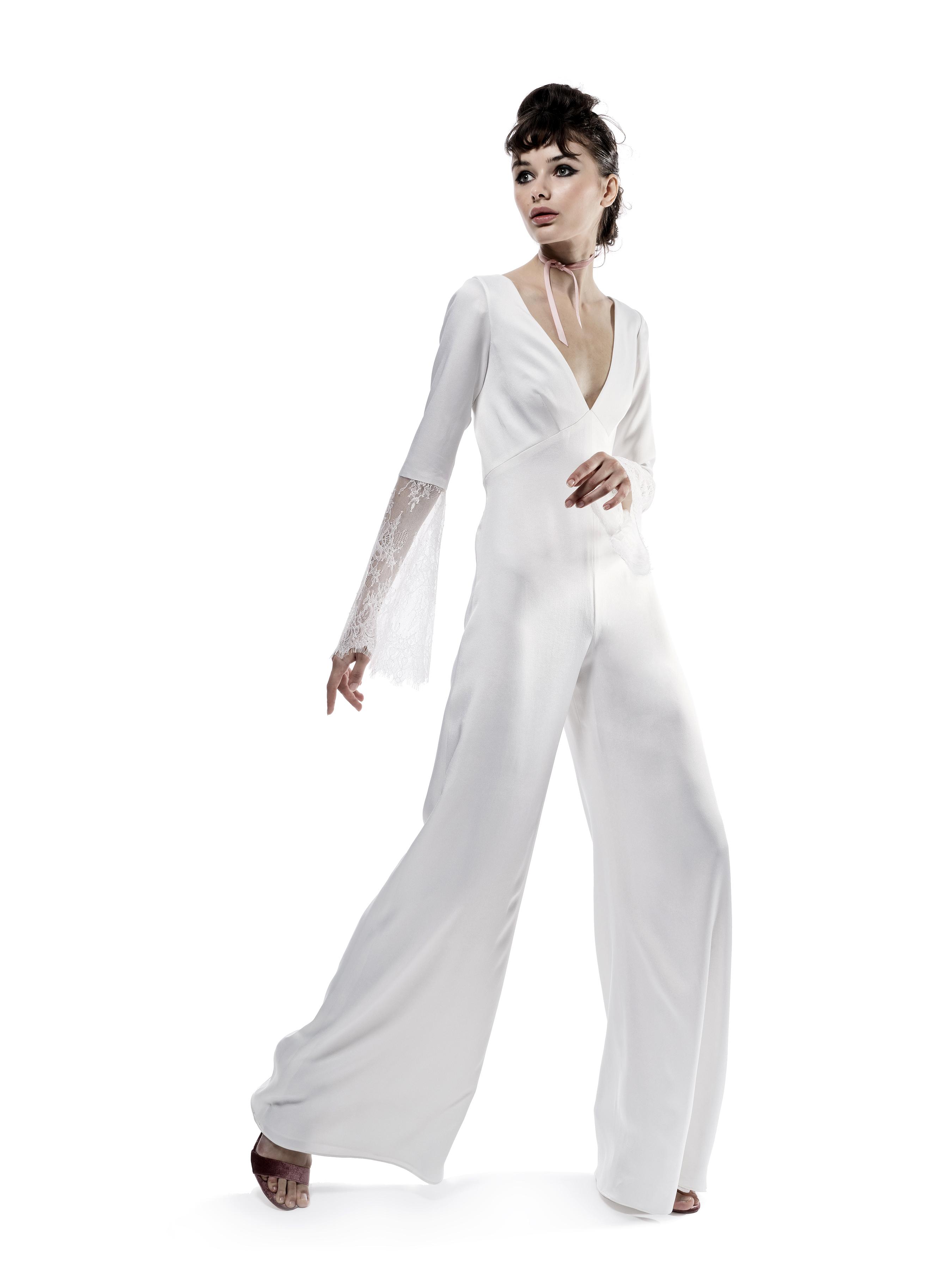 elizabeth fillmore wedding dress fall 2018 jumpsuit deep v neck long sleeves