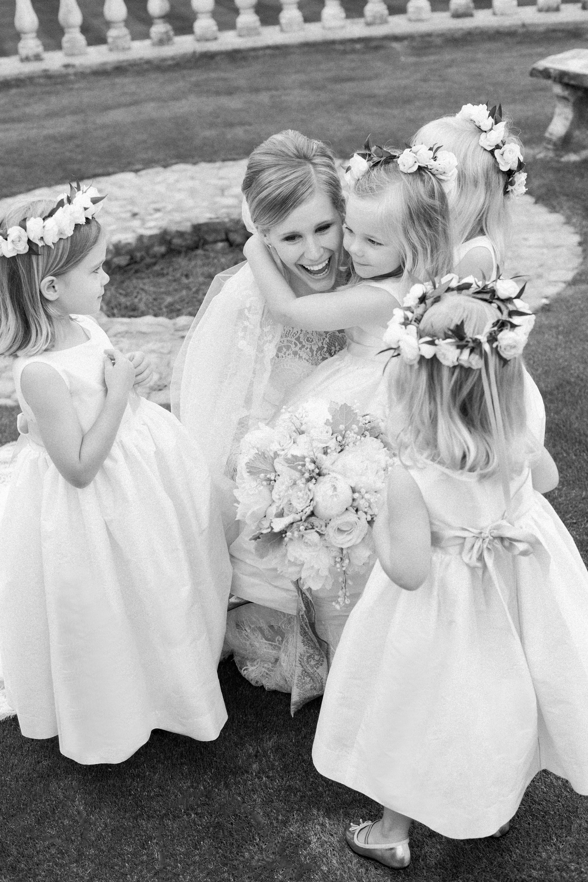 bride and flower girls