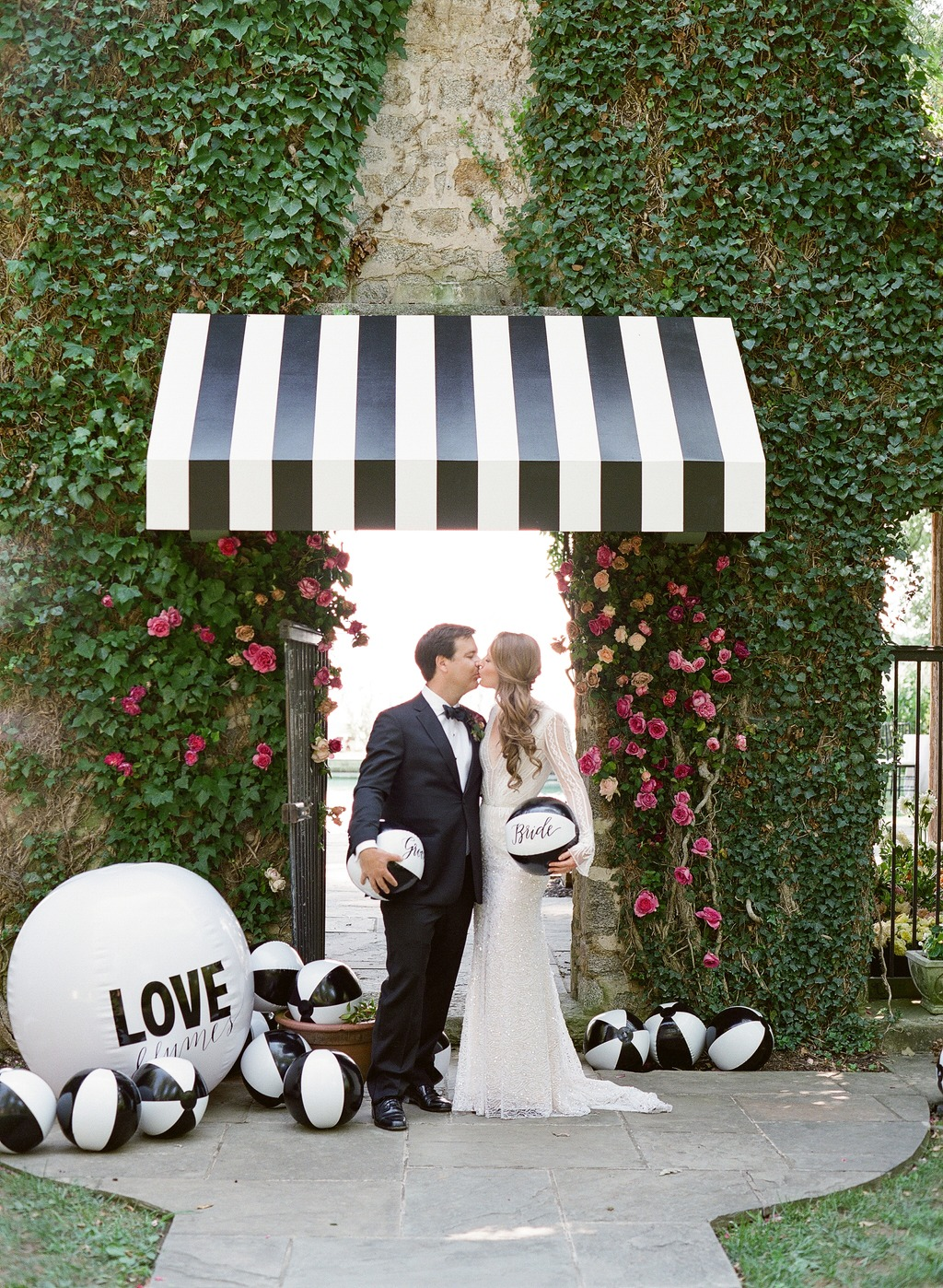 wedding couple beach balls