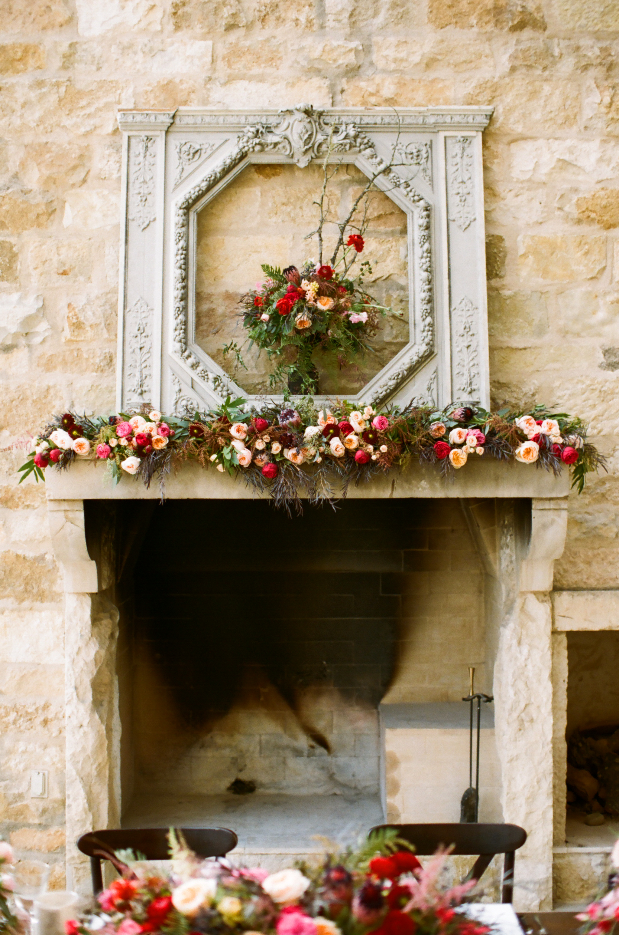 mantel with flowers