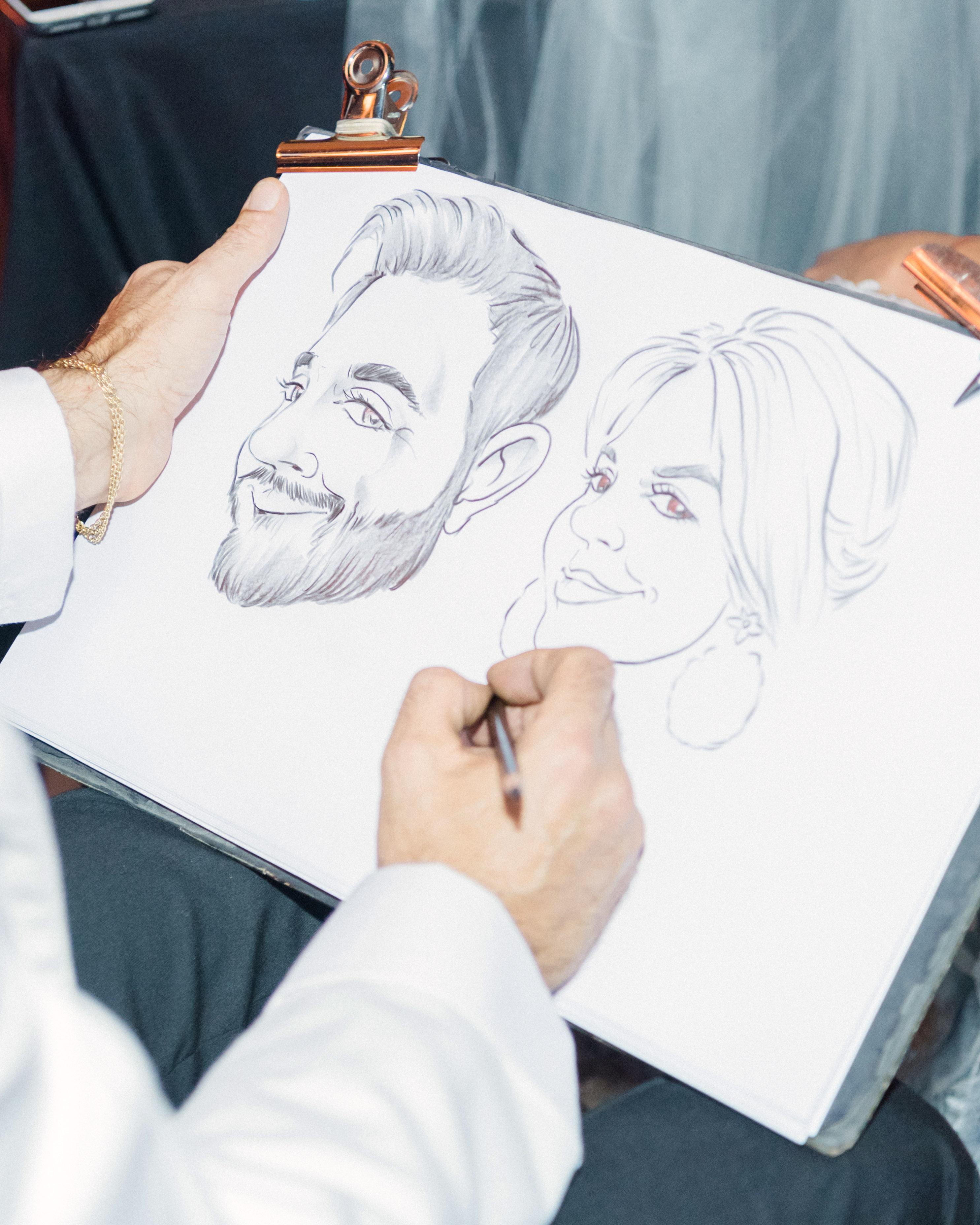jiannina enzo wedding caricatures
