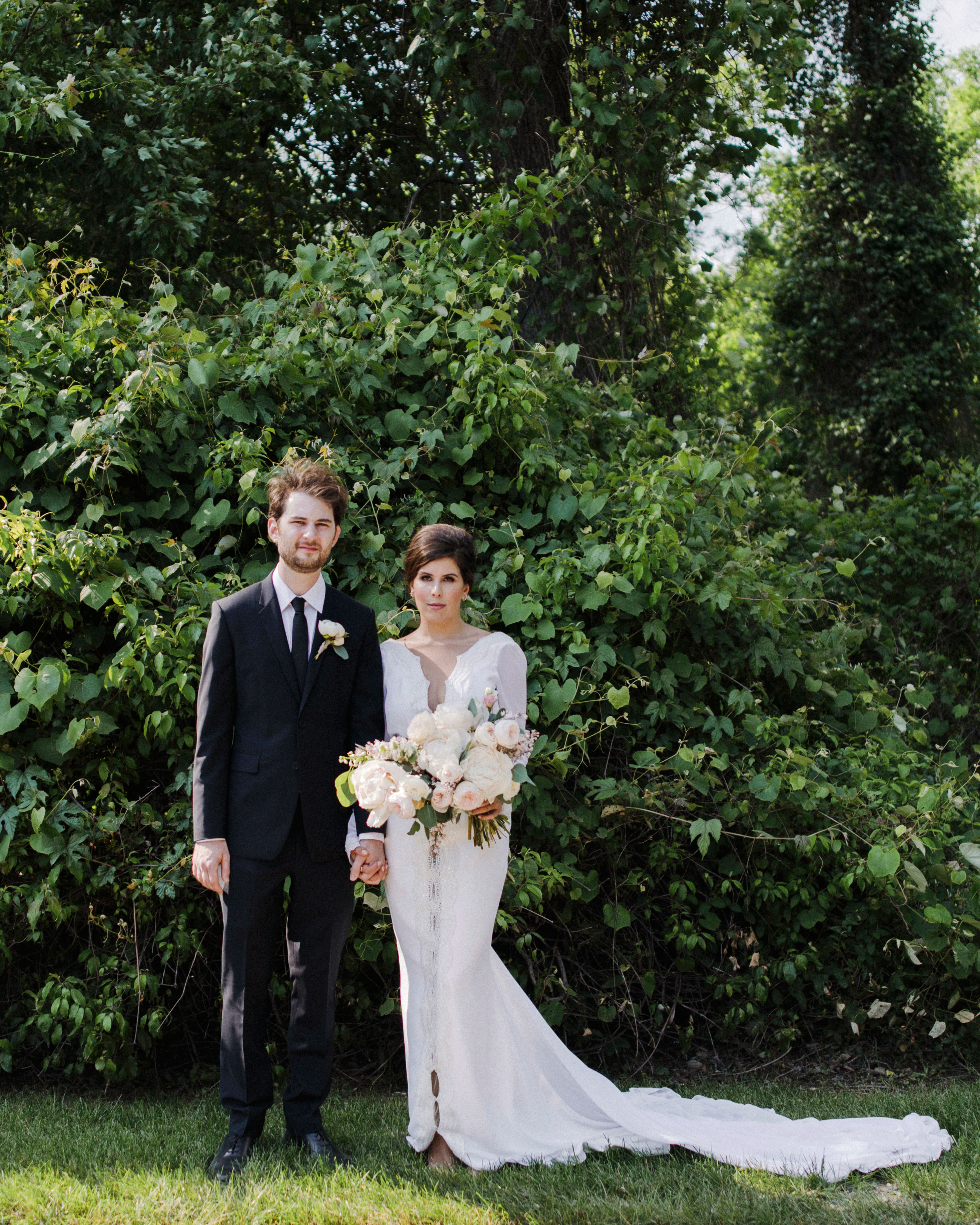 eden jack wedding couple serious greenery