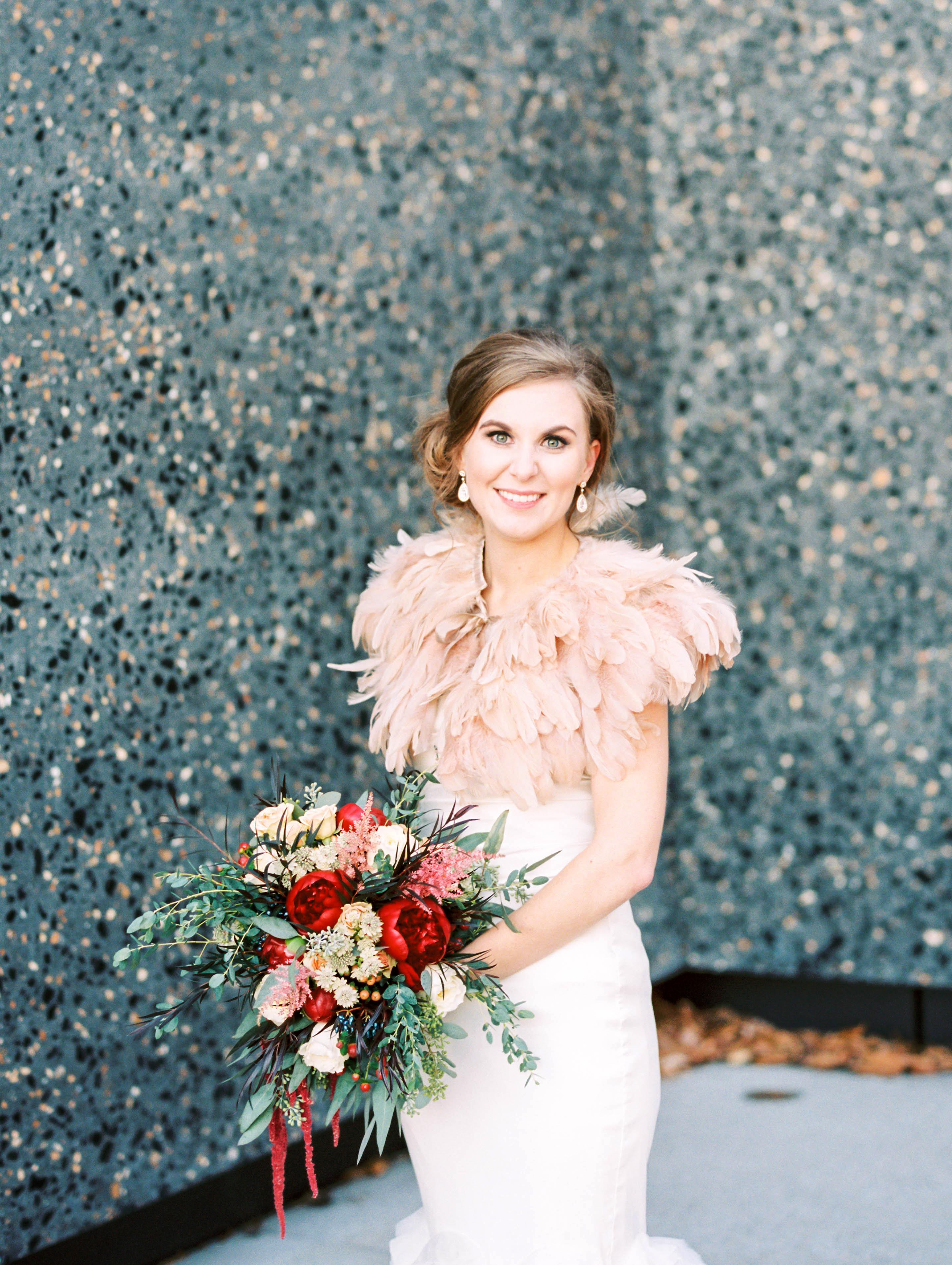 bride feather bolero