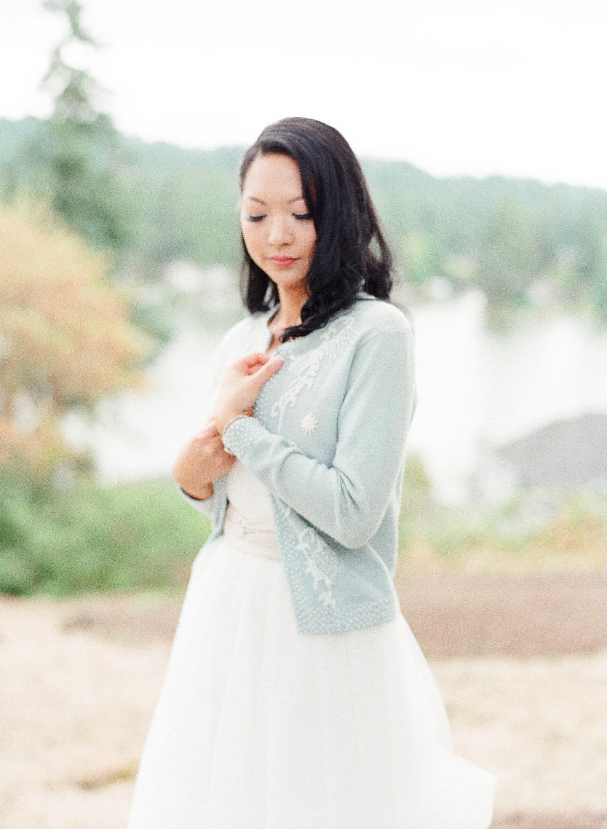 bride wearing cardigan